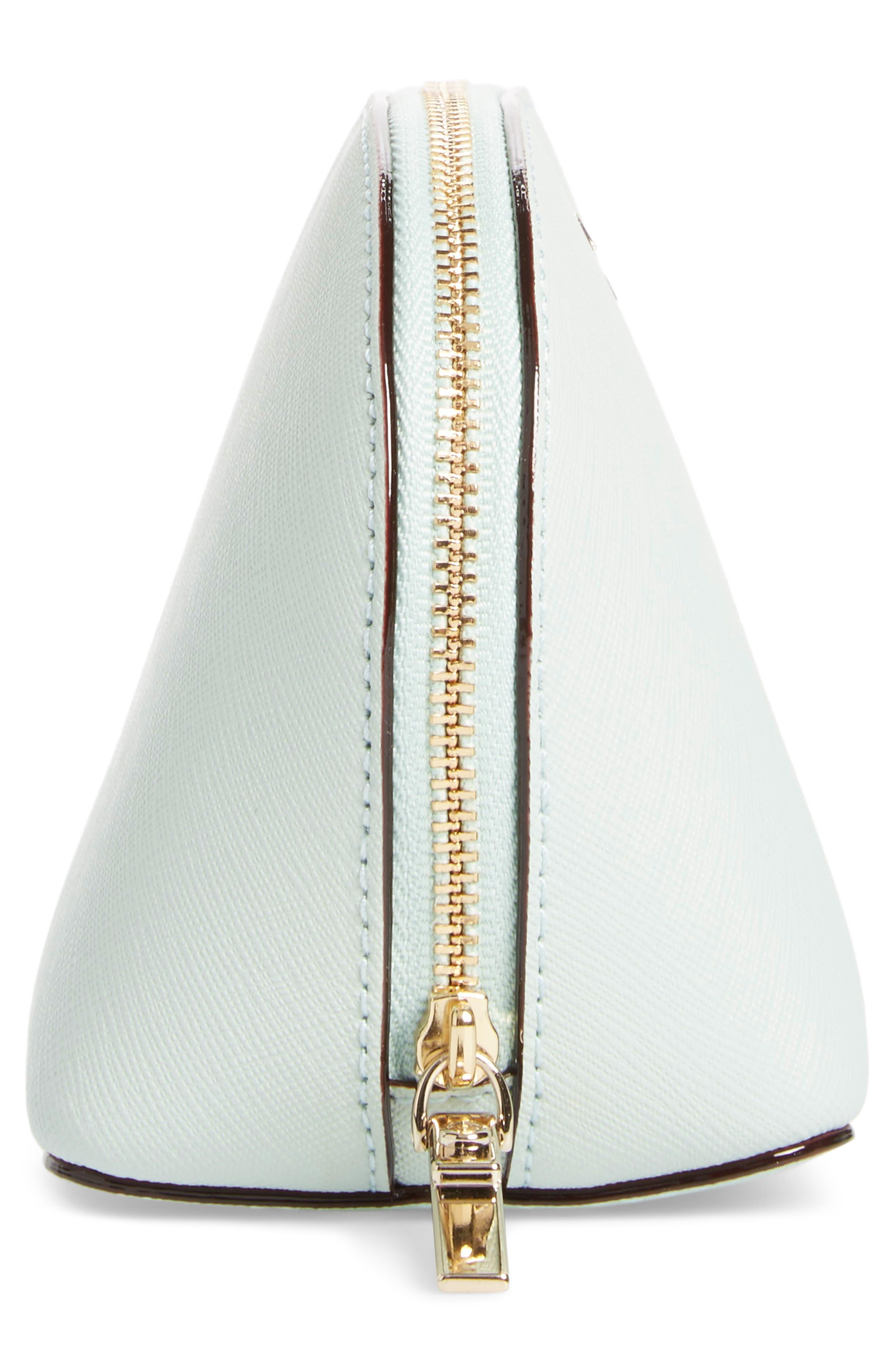 cameron street - small abalene leather cosmetics bag,                             Alternate thumbnail 4, color,                             Misty Mint
