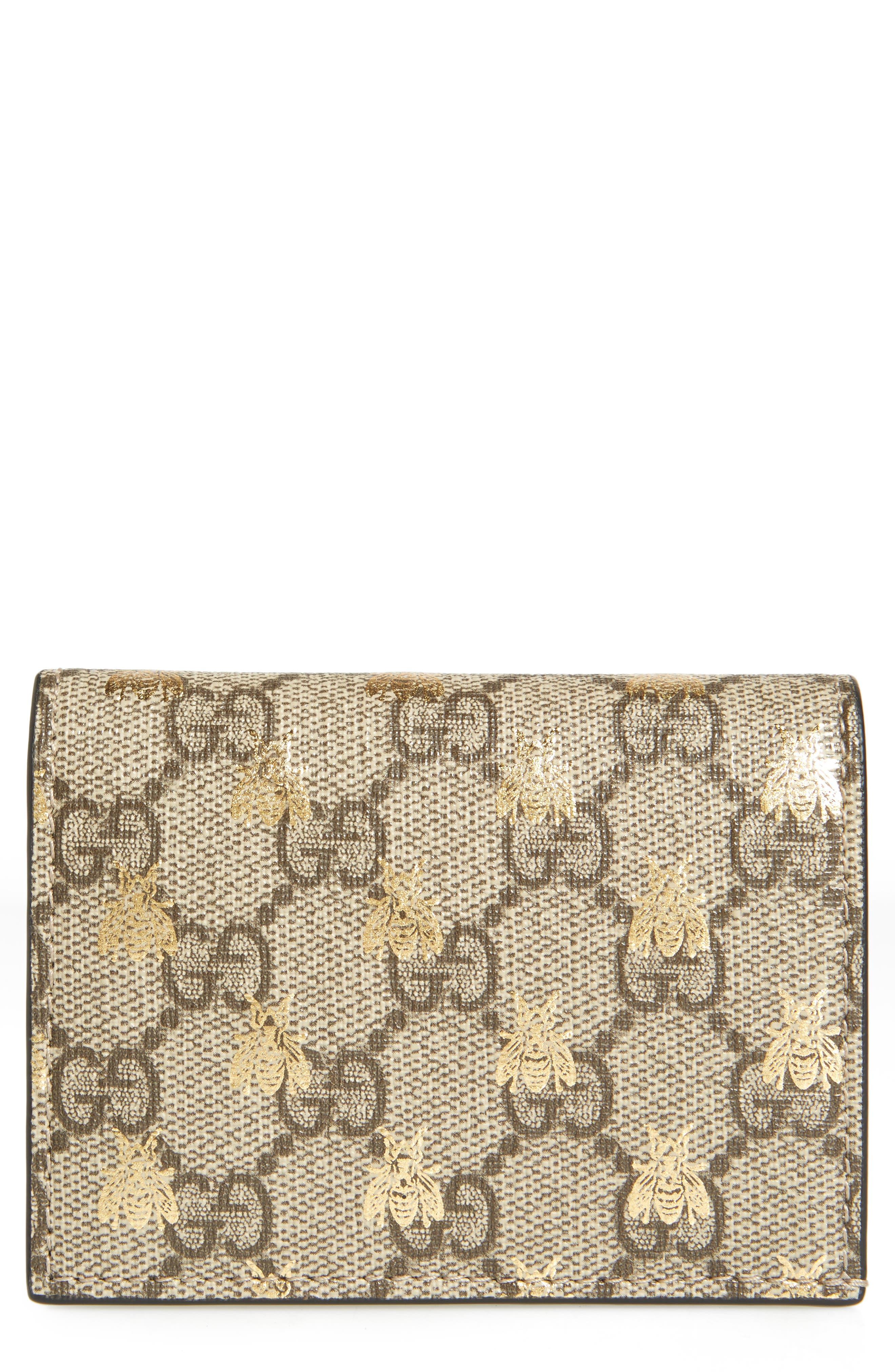 GG Supreme Bee Canvas Bifold Wallet,                         Main,                         color, Beige Ebony Oro/ Nero