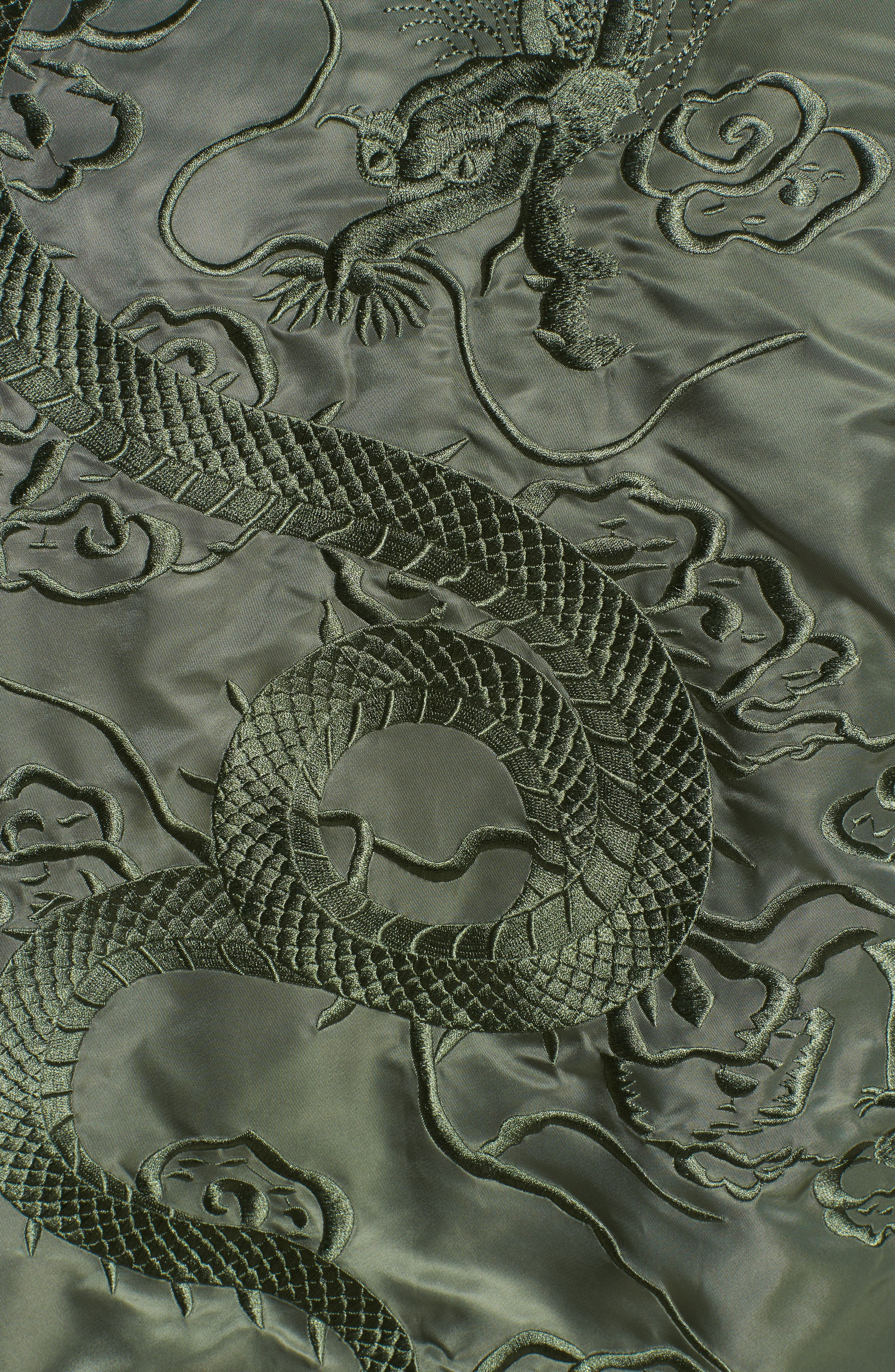 Dragon Embroidered Nylon Flight Jacket,                             Alternate thumbnail 5, color,                             Sage