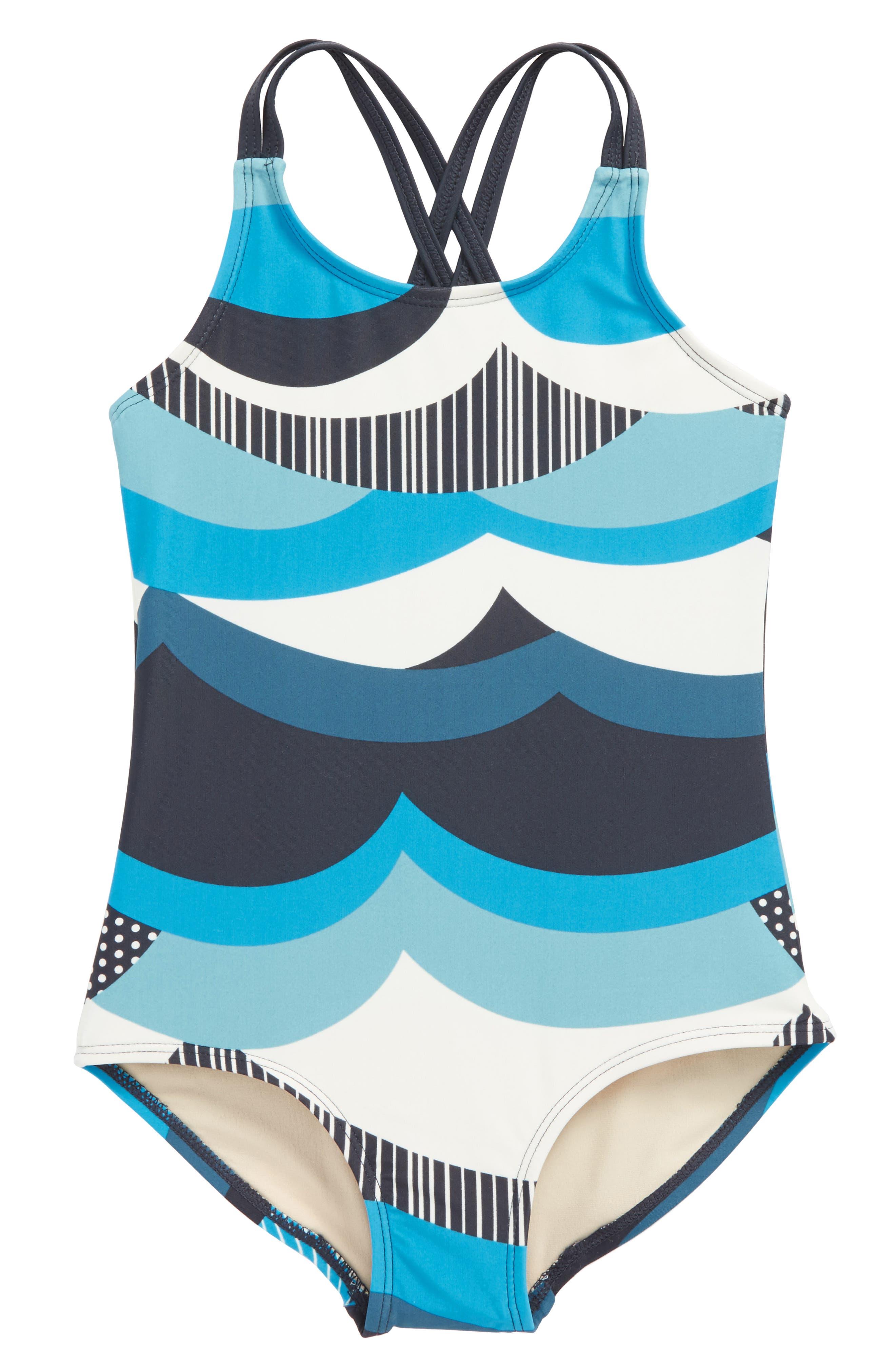 Make Waves One-Piece Swimsuit,                         Main,                         color, Indigo