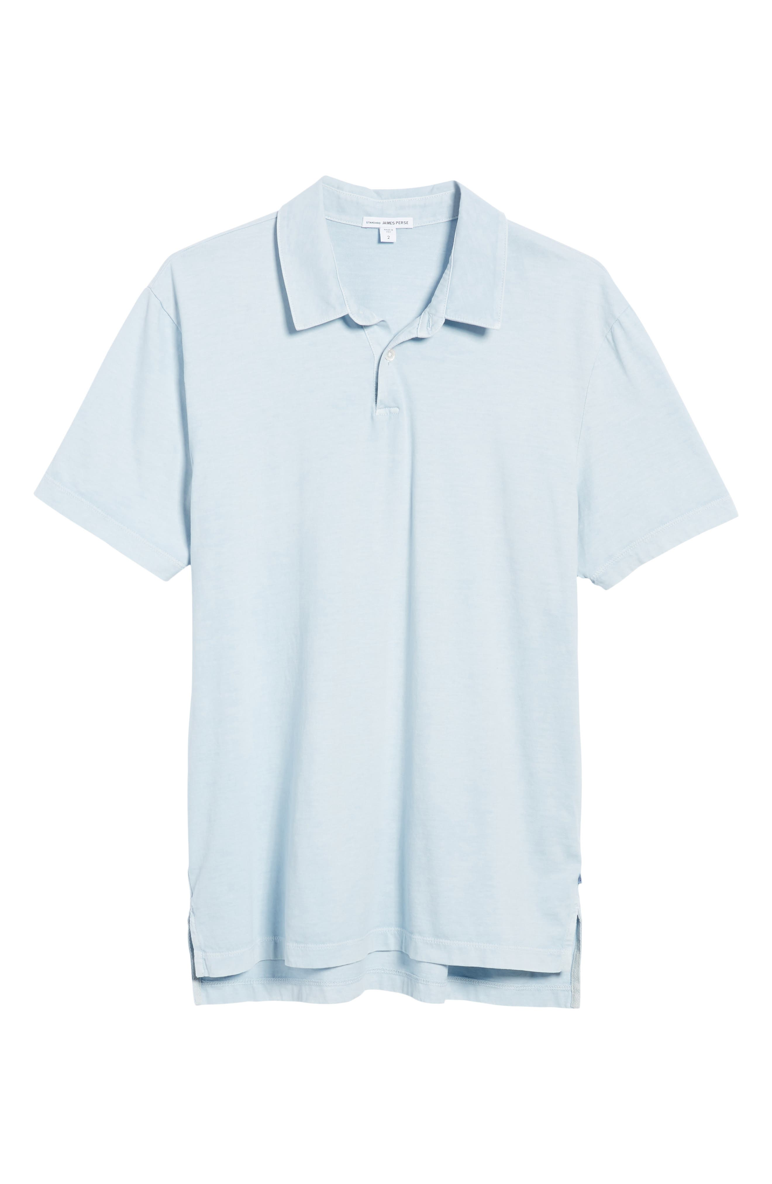 Slim Fit Sueded Jersey Polo,                             Alternate thumbnail 3, color,                             Baby Blue Pigment