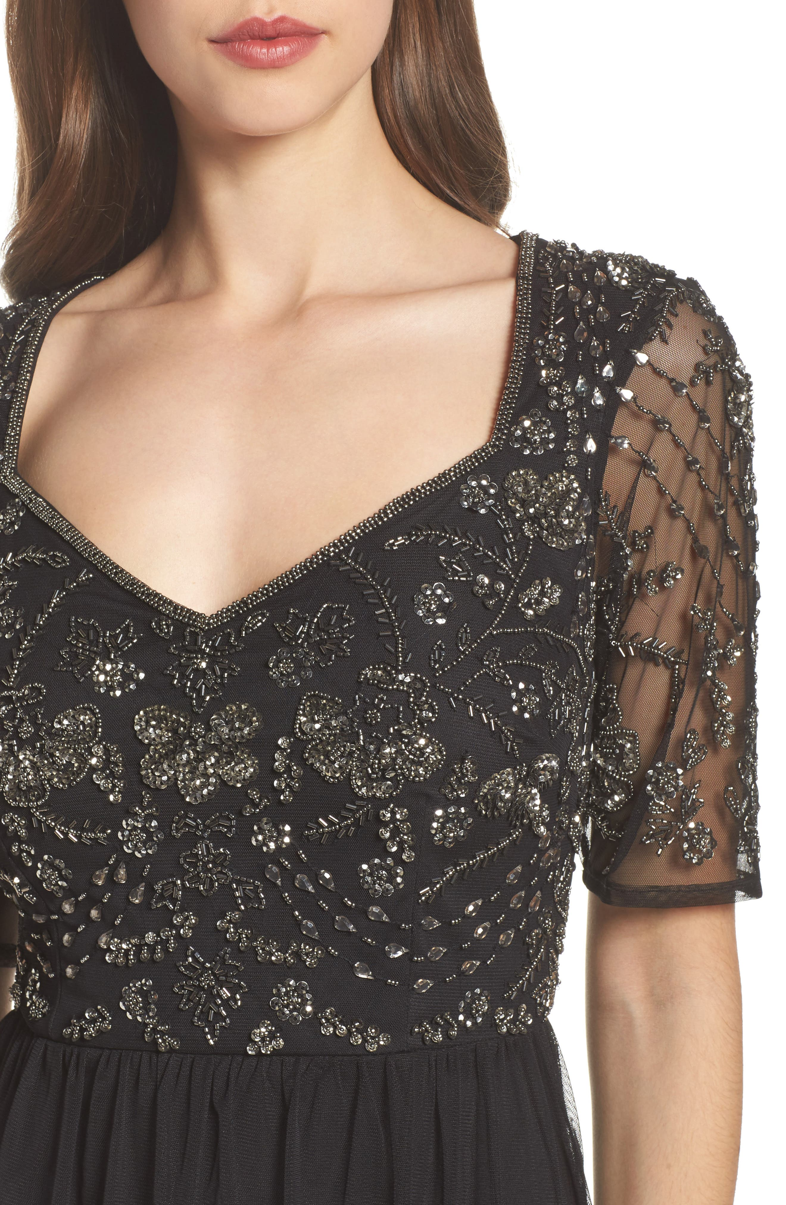Beaded Bodice Tulle Gown,                             Alternate thumbnail 4, color,                             Black