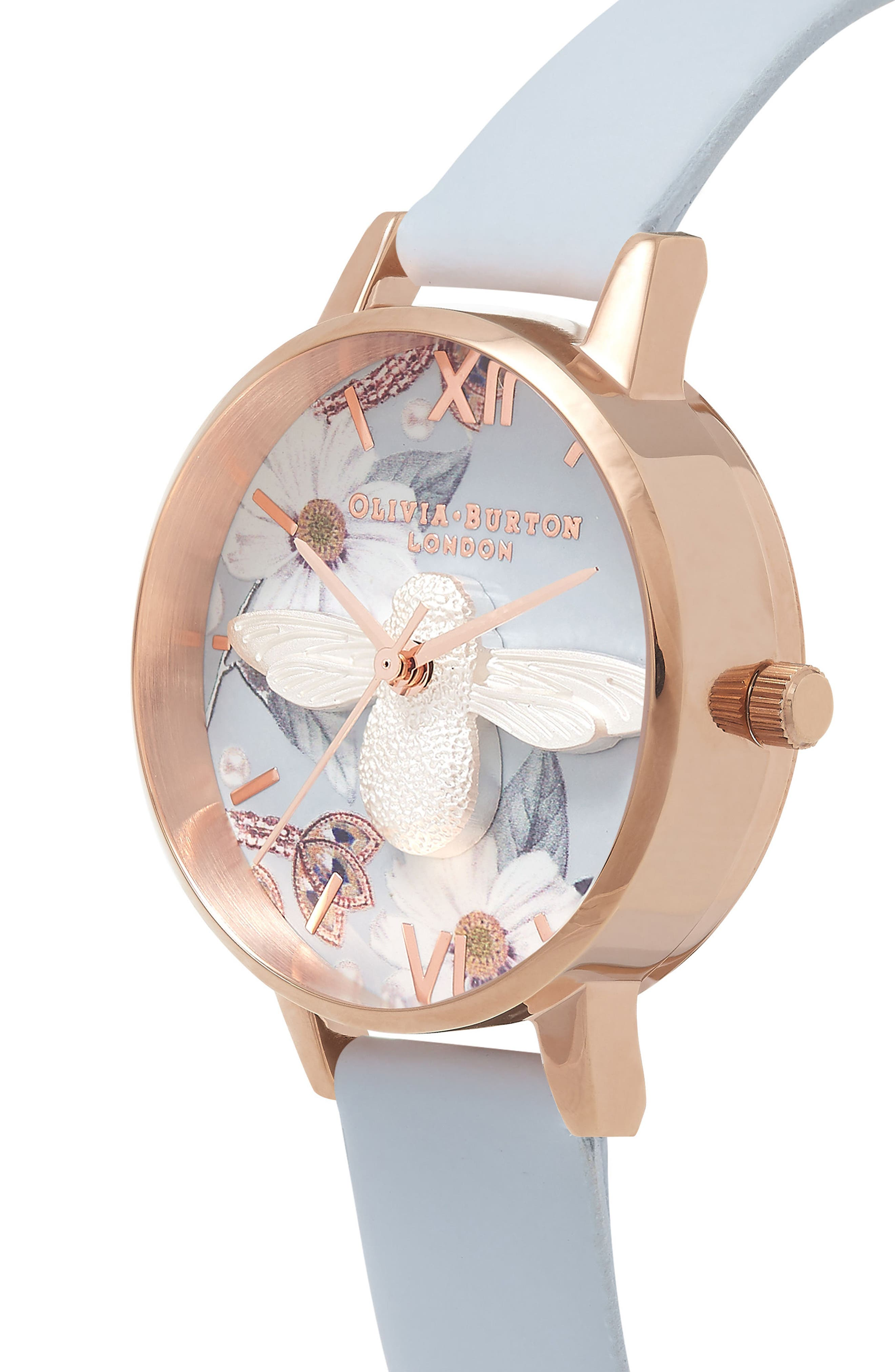 Bejewelled Florals Leather Strap Watch, 30mm,                             Alternate thumbnail 2, color,                             Blue/ Floral/ Rose Gold
