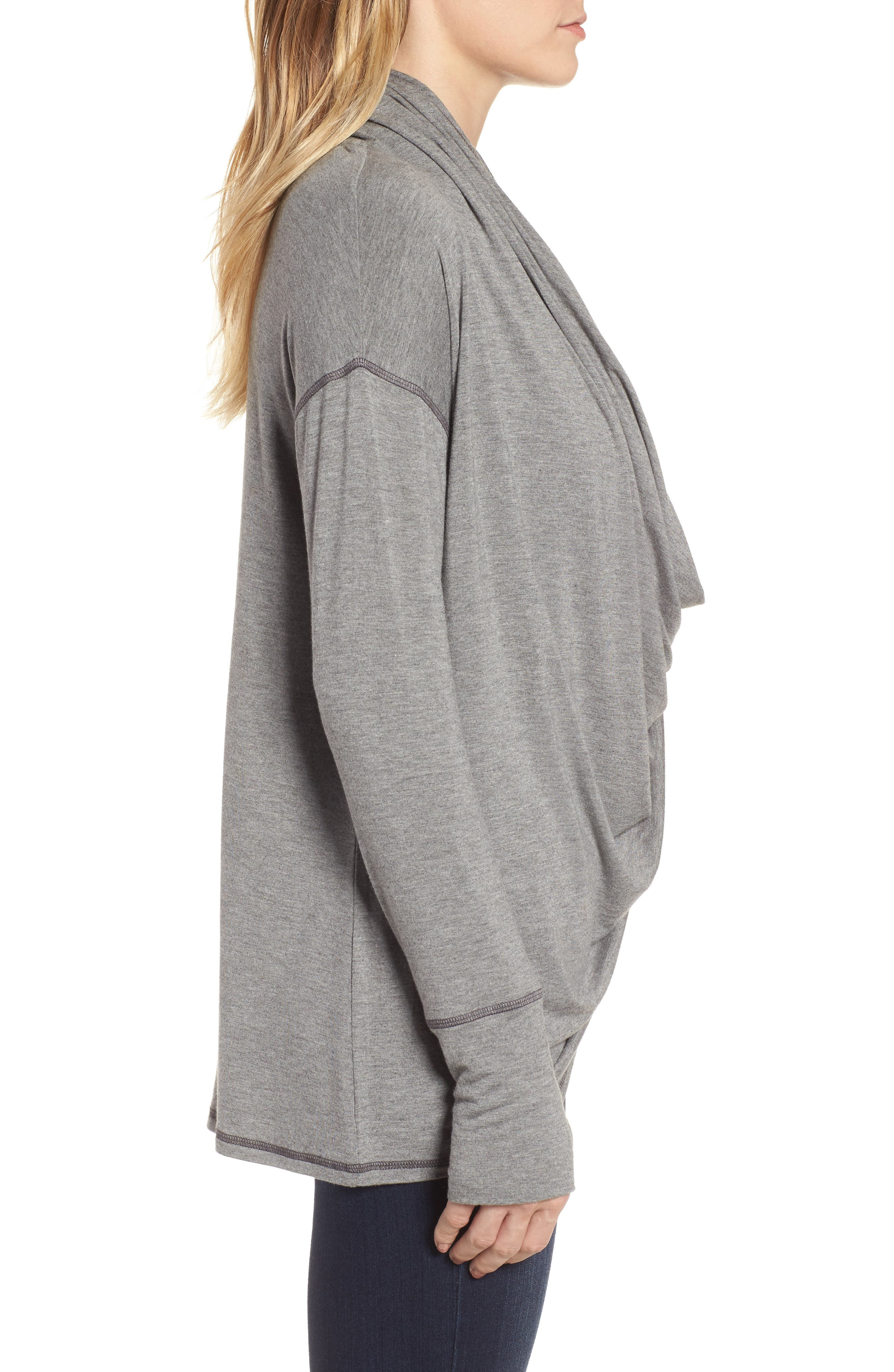 Off-Duty Long Convertible Cardigan,                             Alternate thumbnail 3, color,                             Grey Dark Heather