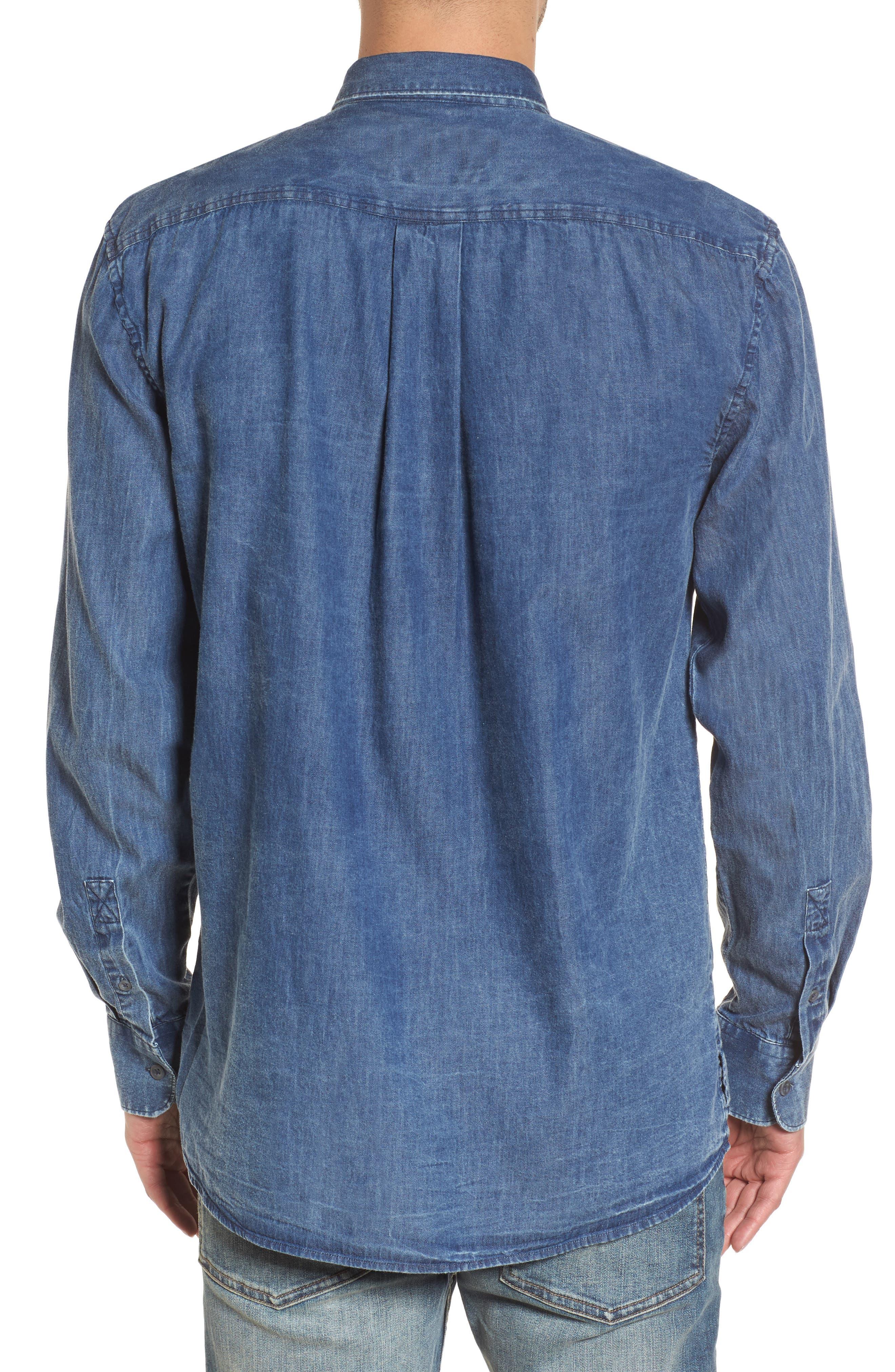Boxy Denim Shirt,                             Alternate thumbnail 2, color,                             Vintage Navy Acid
