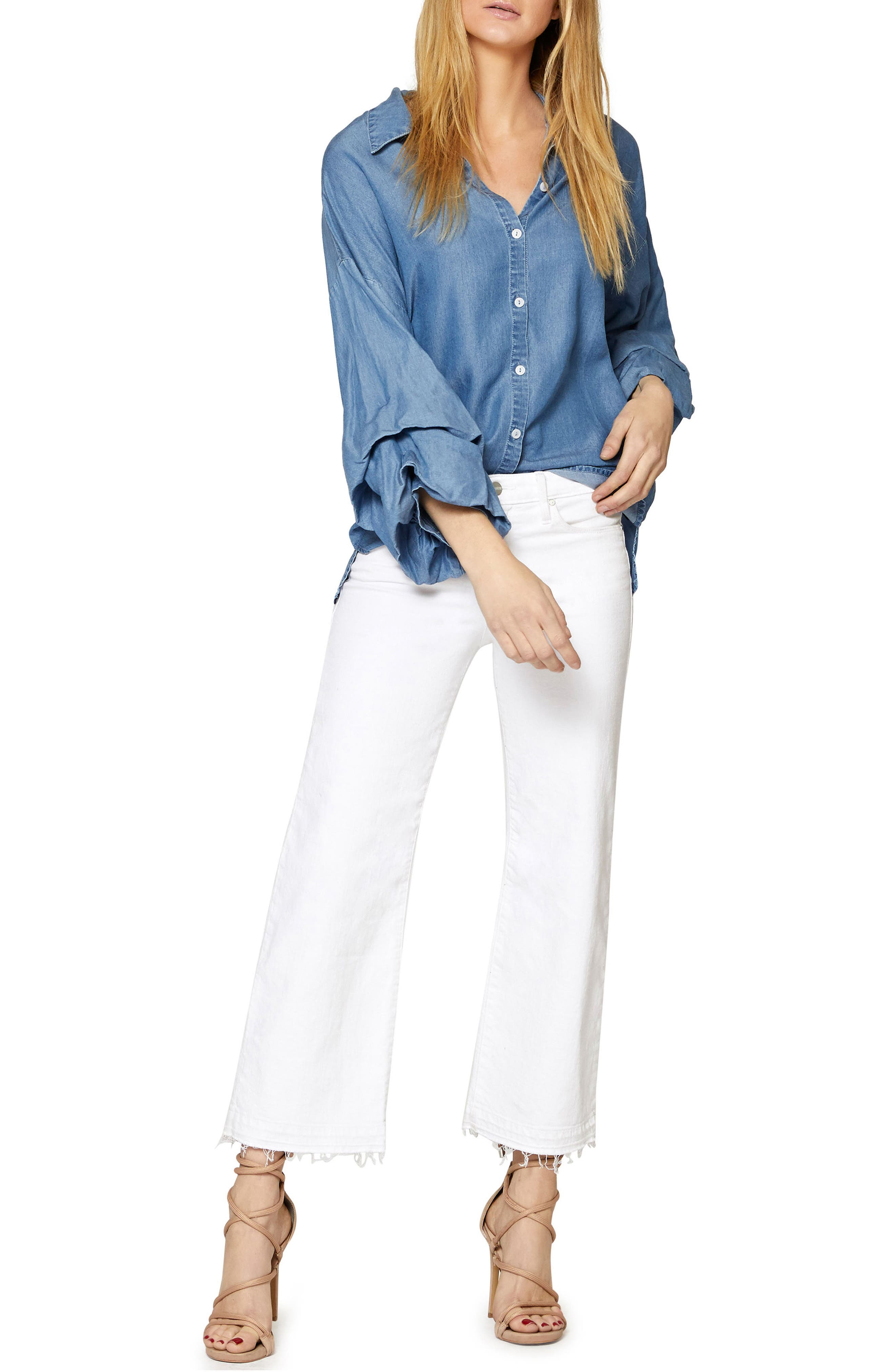 Brynn Gathered Sleeve Shirt,                             Alternate thumbnail 4, color,                             Sky Wash