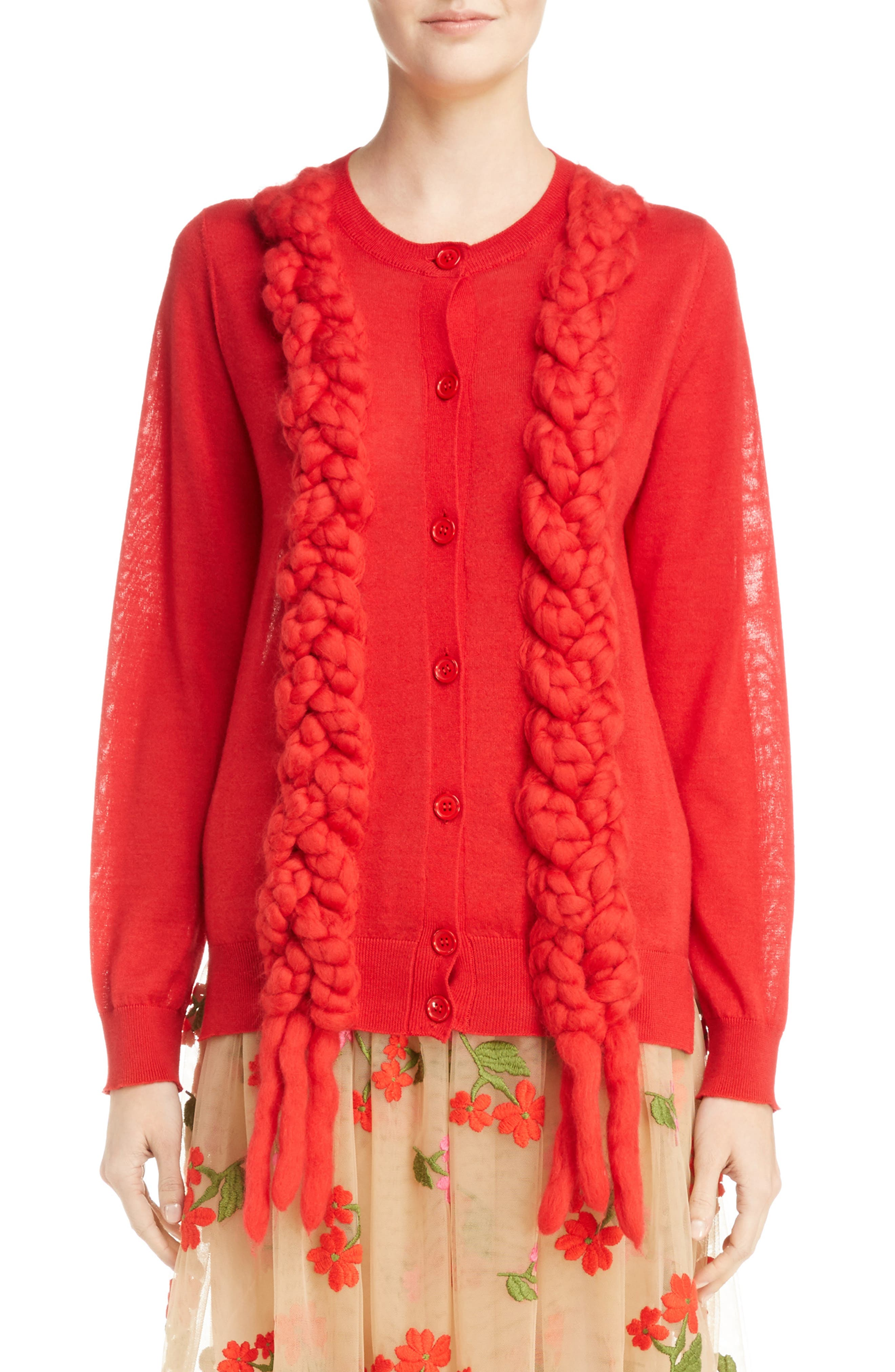 Felted Plait Merino, Silk & Cashmere Button Cardigan,                             Main thumbnail 1, color,                             Red