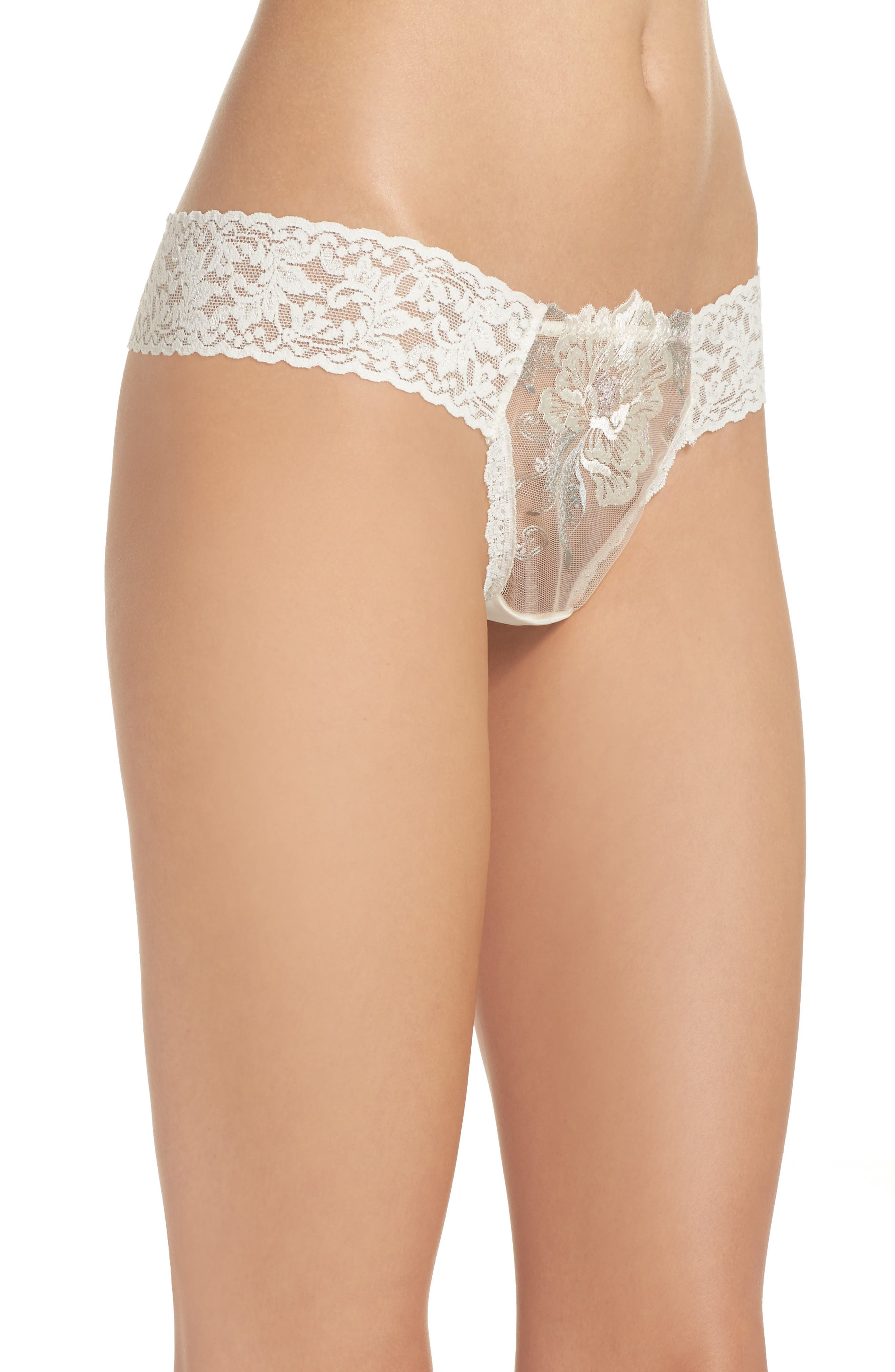 Floral Low Rise Thong,                             Alternate thumbnail 3, color,                             Ivorgrypnk
