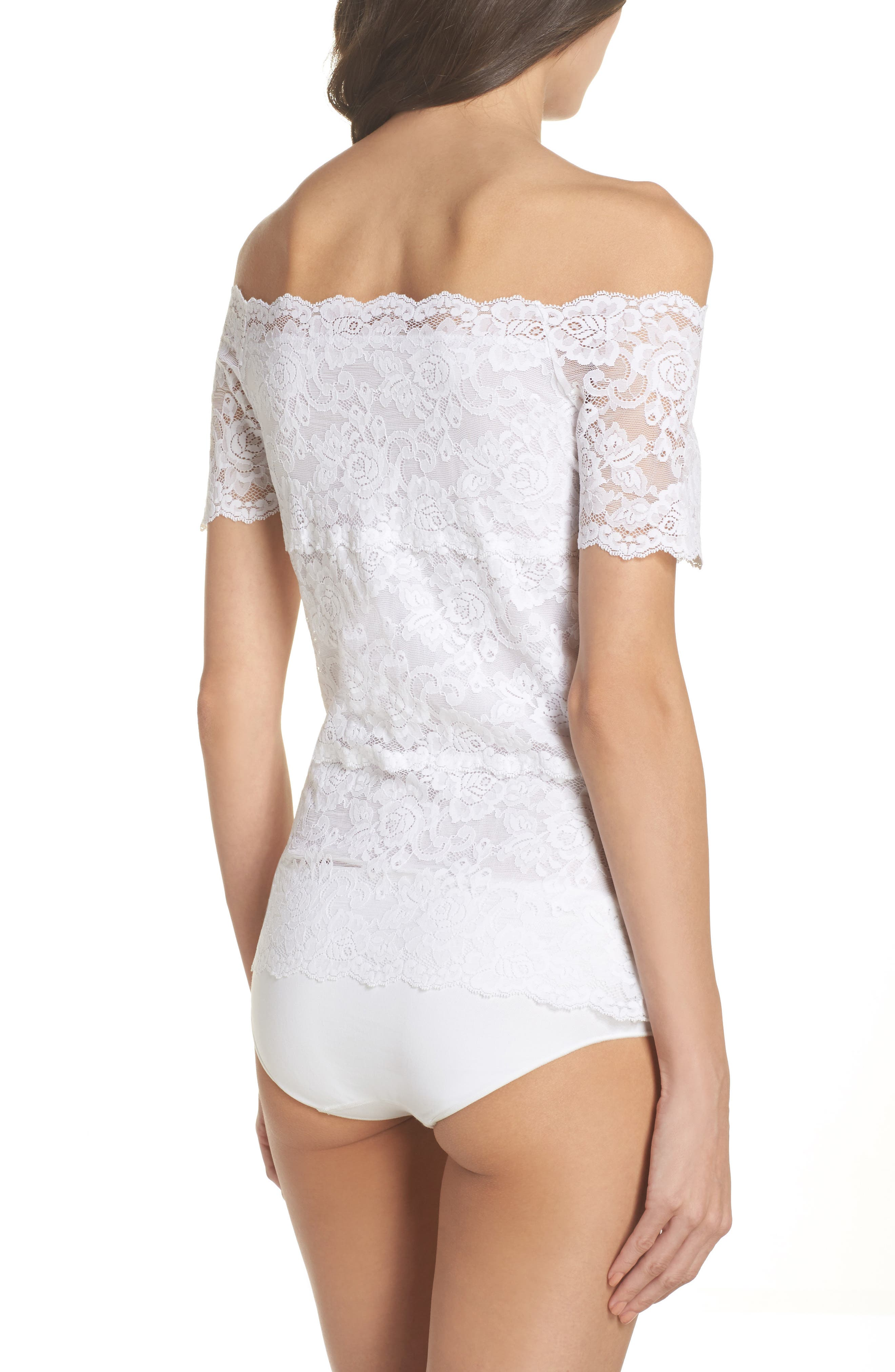 Evelyn Off the Shoulder Lace Top,                             Alternate thumbnail 2, color,                             White
