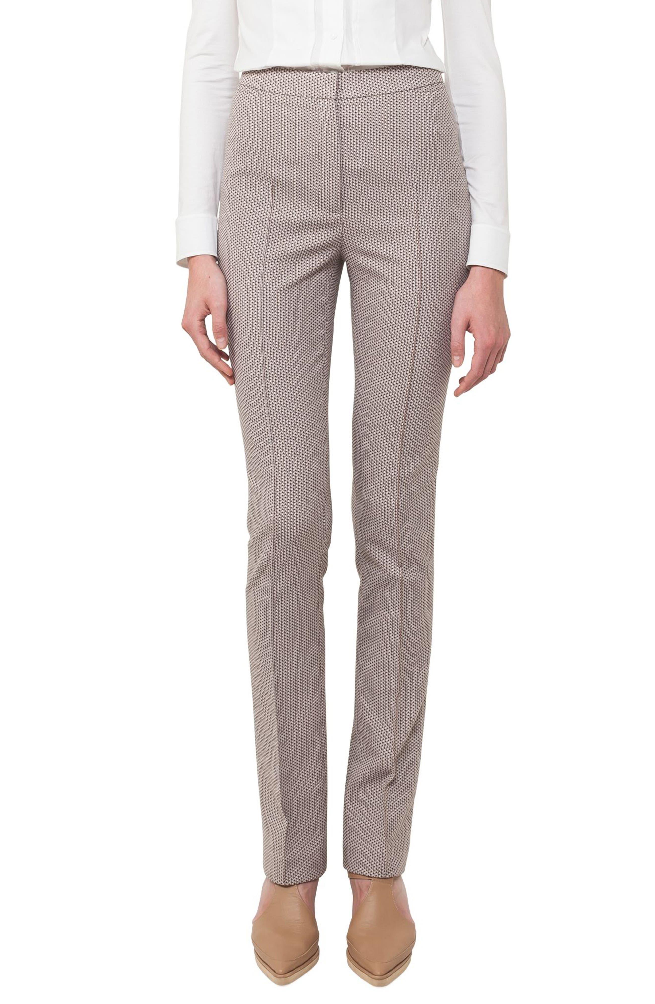 Claire Stretch Cotton Pants,                         Main,                         color, Taupe Multi