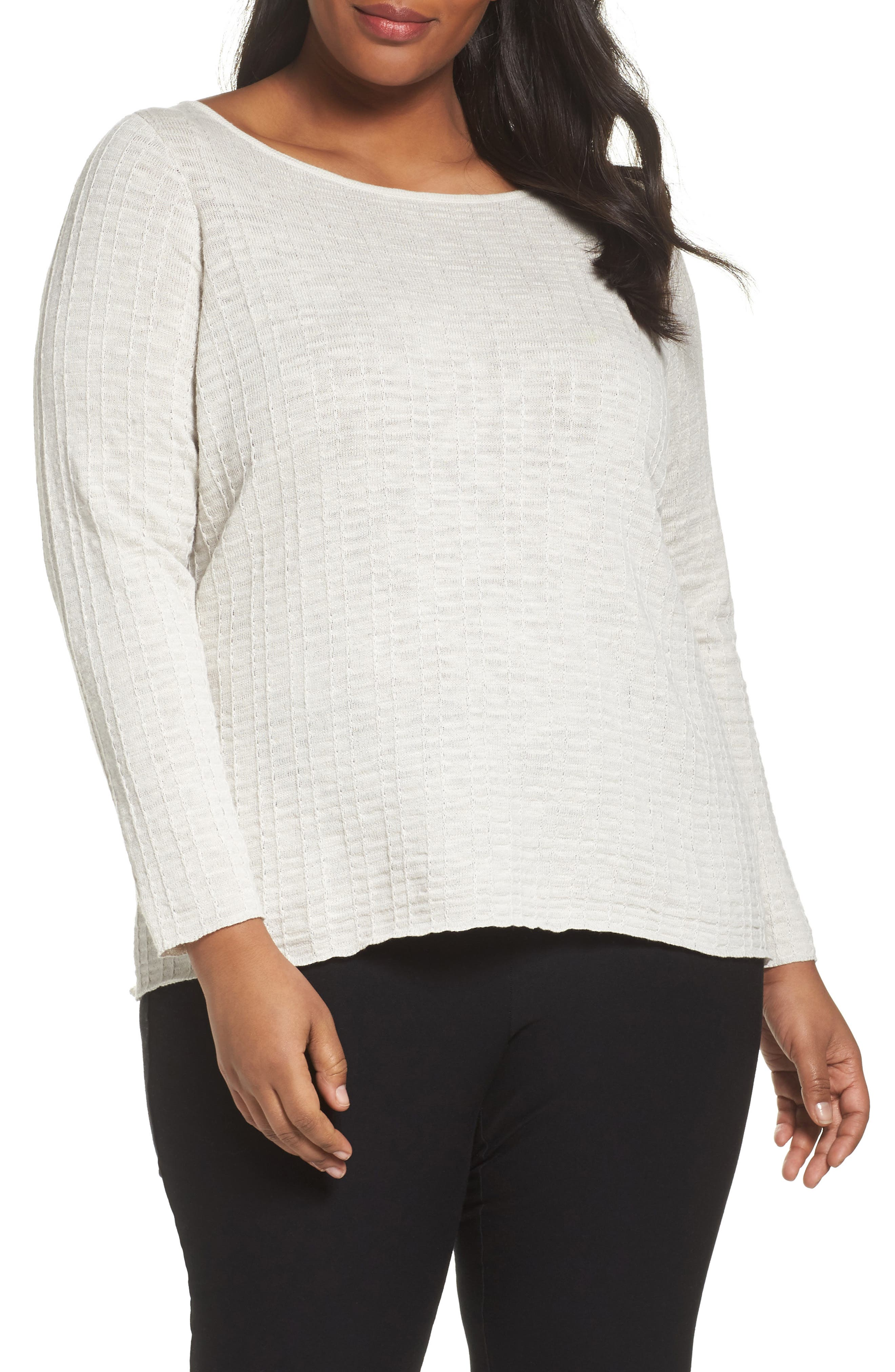 Eileen Fisher Organic Linen & Cotton Sweater (Plus Size)