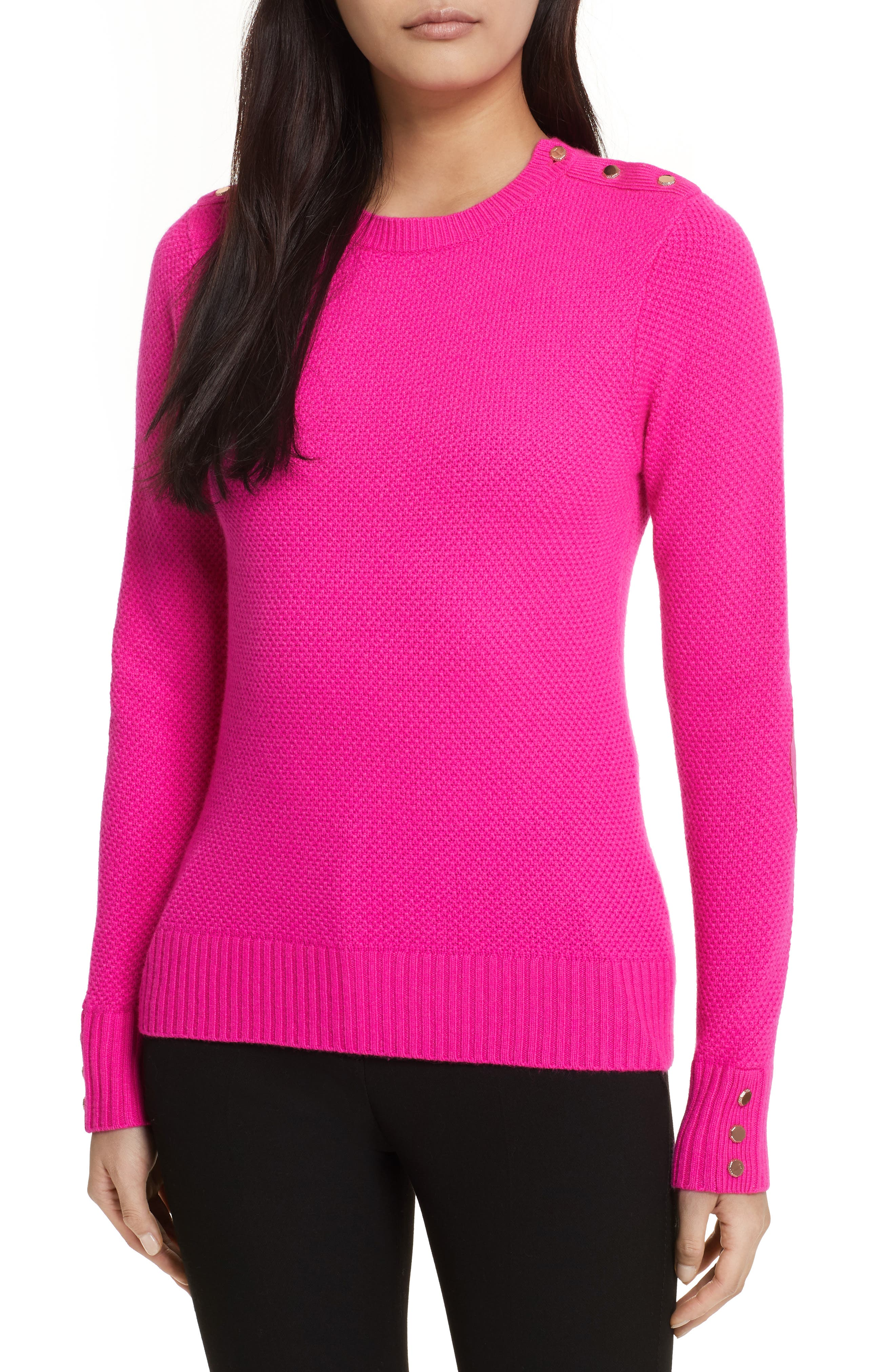 Textured Merino-Wool-Blend Sweater,                         Main,                         color, Bright Pink