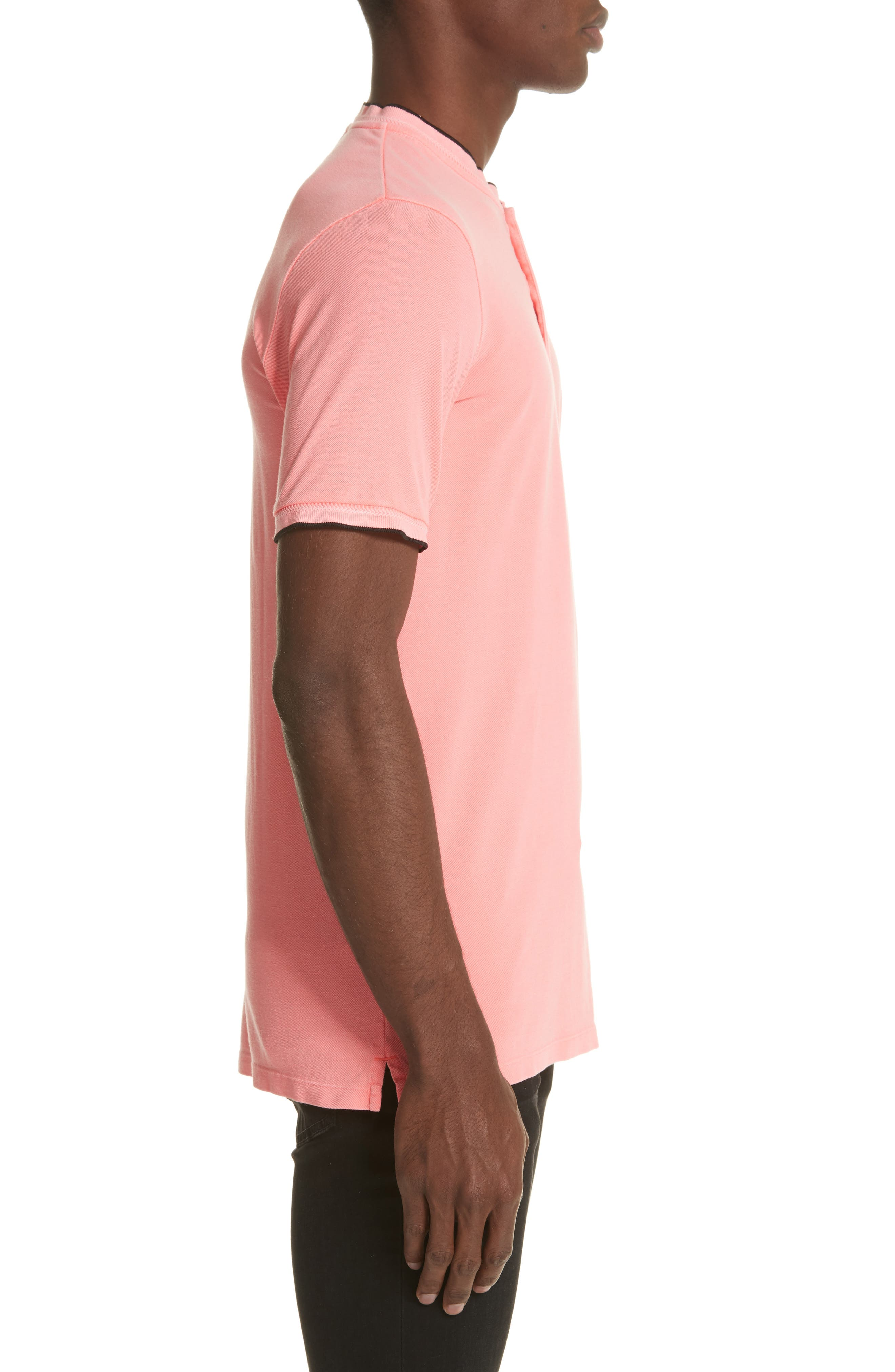 Tipped Polo,                             Alternate thumbnail 3, color,                             Pink 1