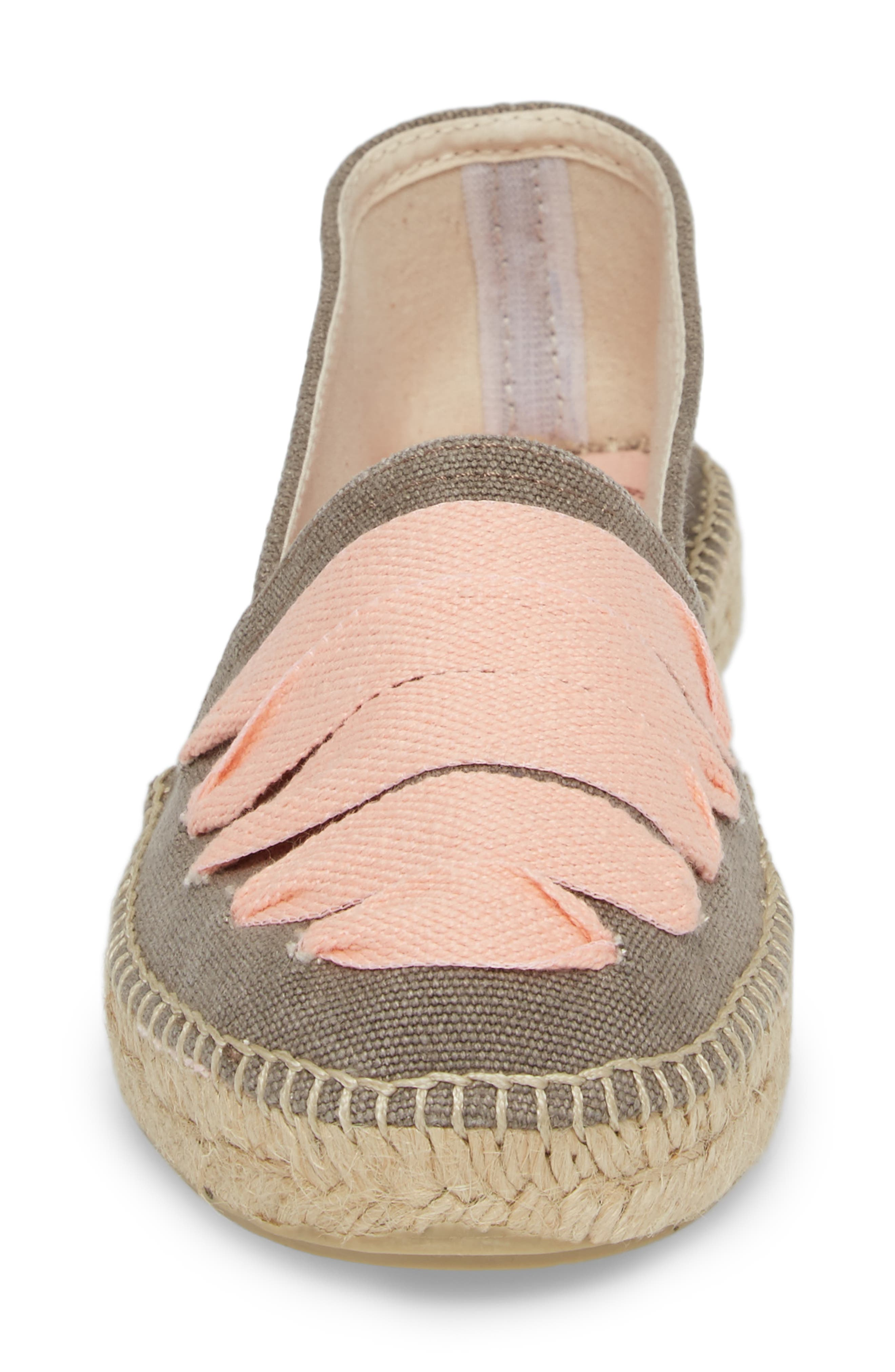 Rubi Espadrille Flat,                             Alternate thumbnail 4, color,                             Gris/ Rosa Fabric