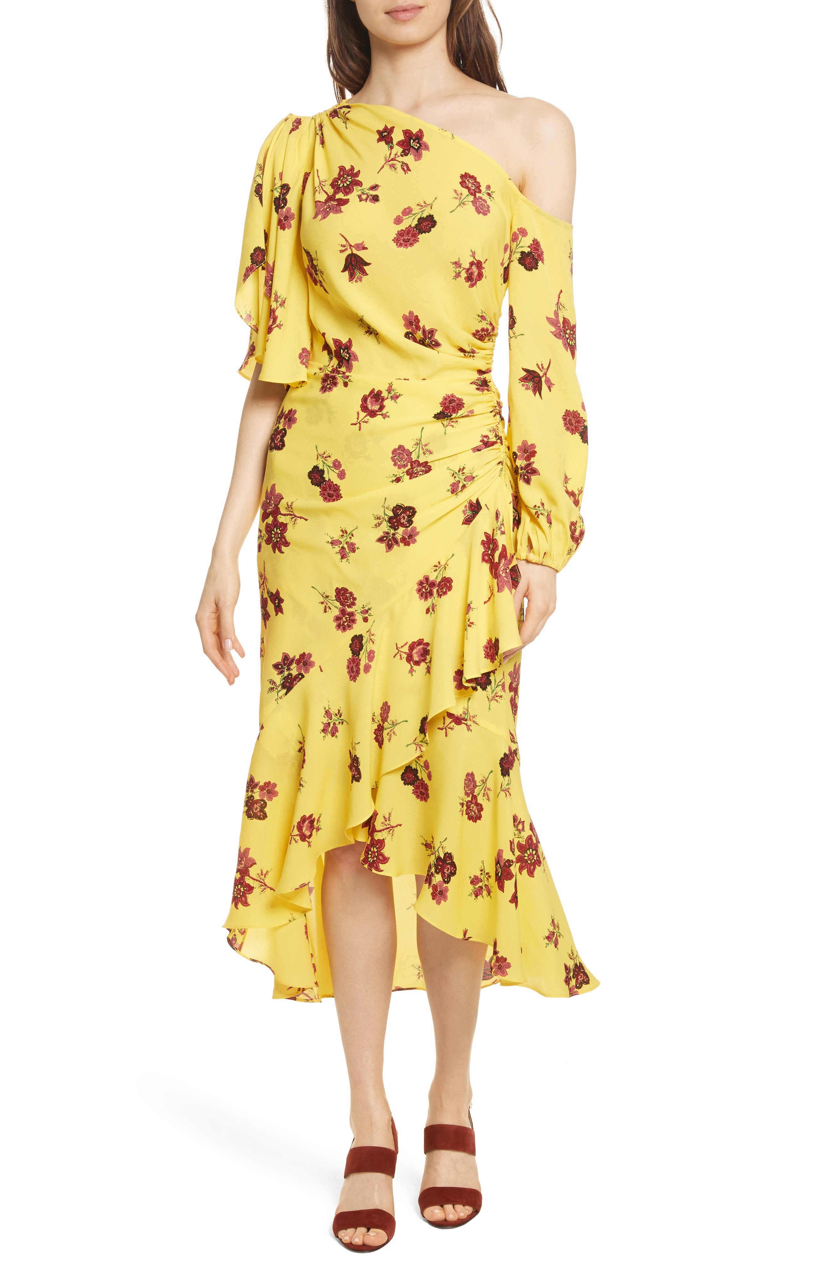 Florence One-Shoulder Silk Dress,                         Main,                         color, Yellow