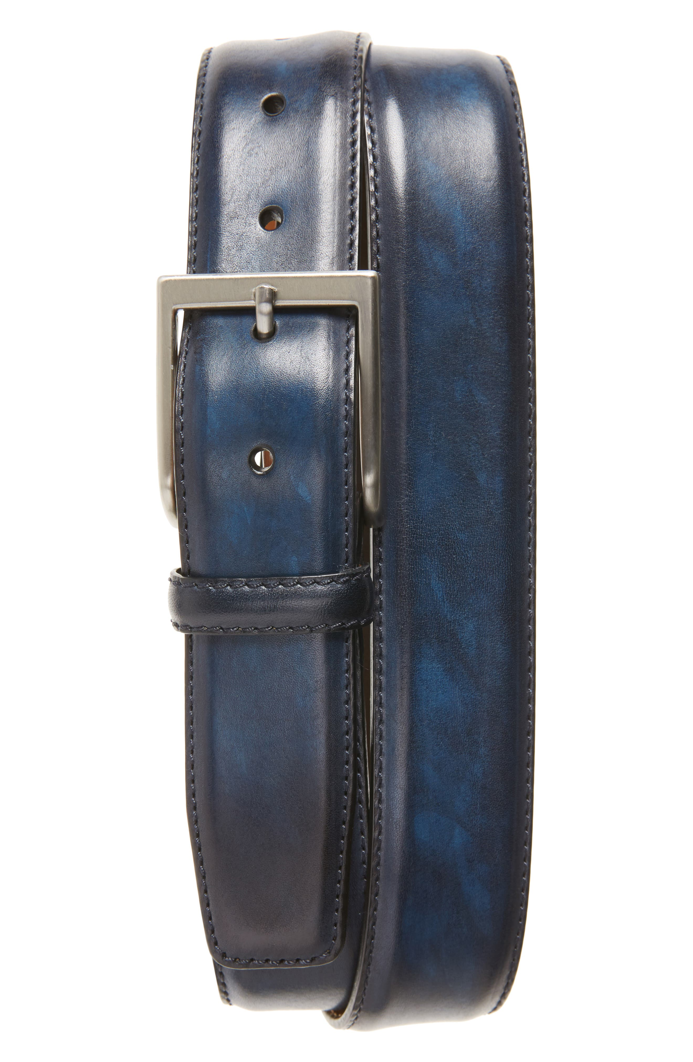 Wind Leather Belt,                             Main thumbnail 1, color,                             Royal