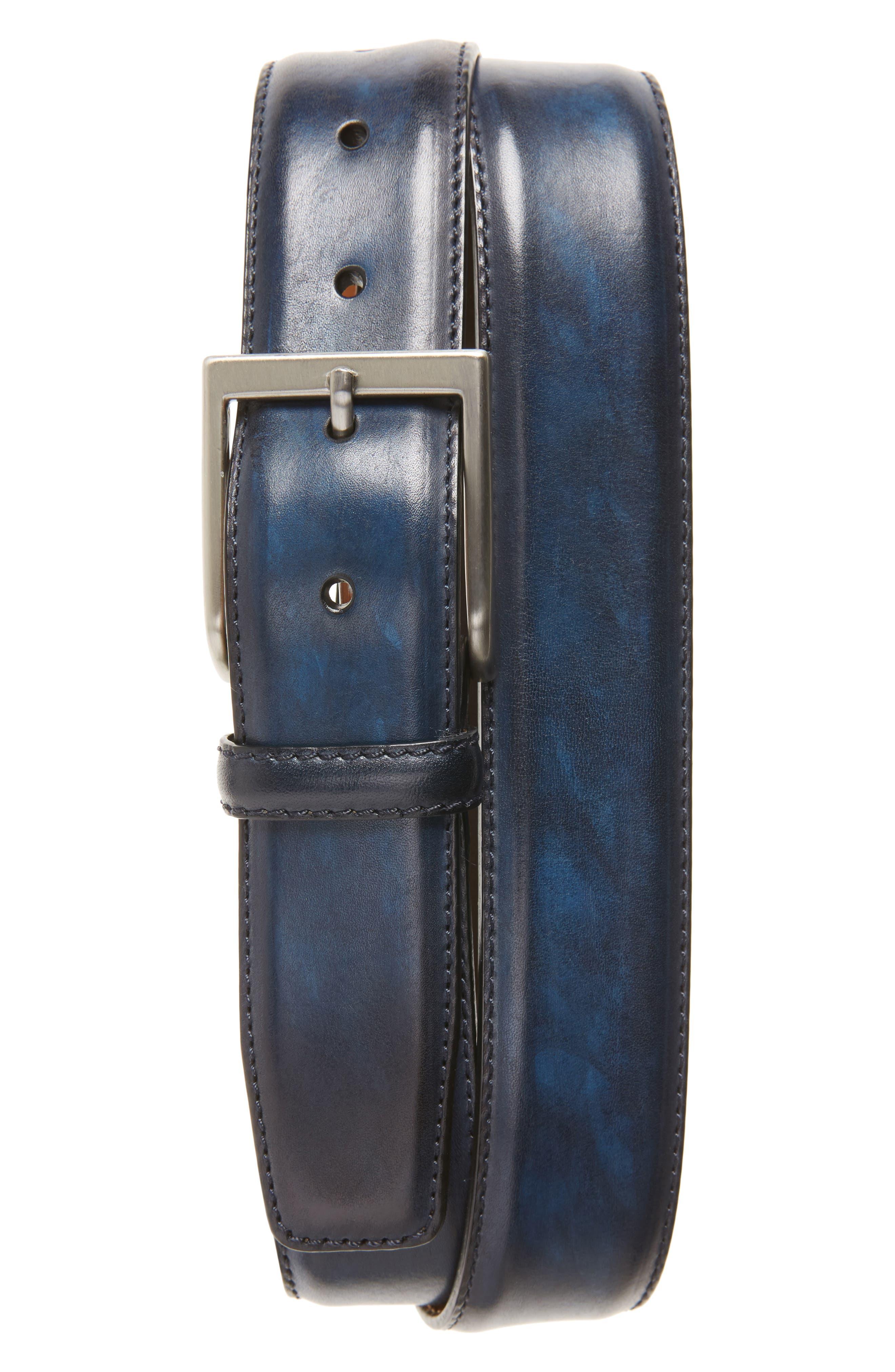 Wind Leather Belt,                         Main,                         color, Royal
