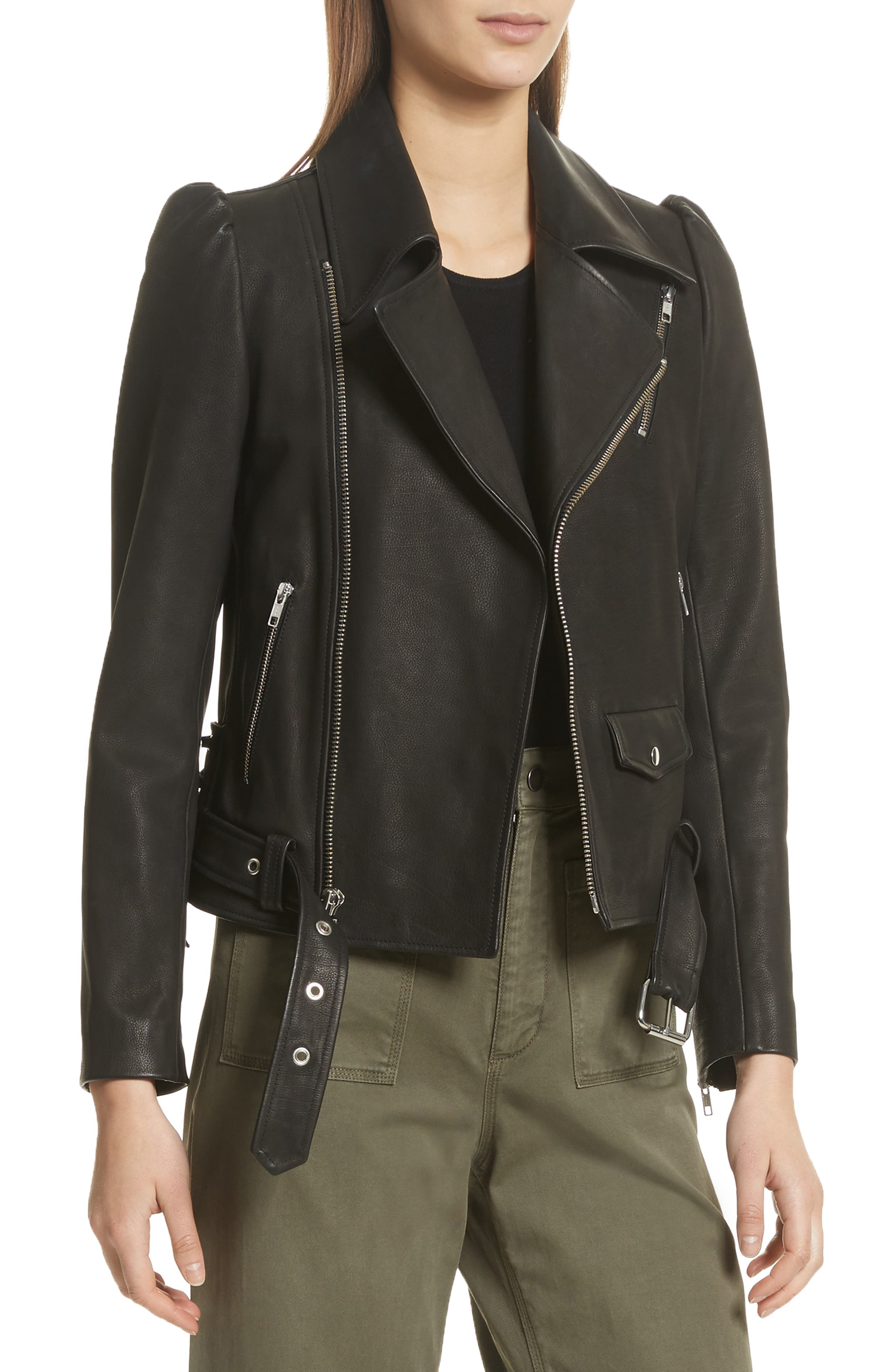 Calix Puff Shoulder Leather Moto Jacket,                             Main thumbnail 1, color,                             Black