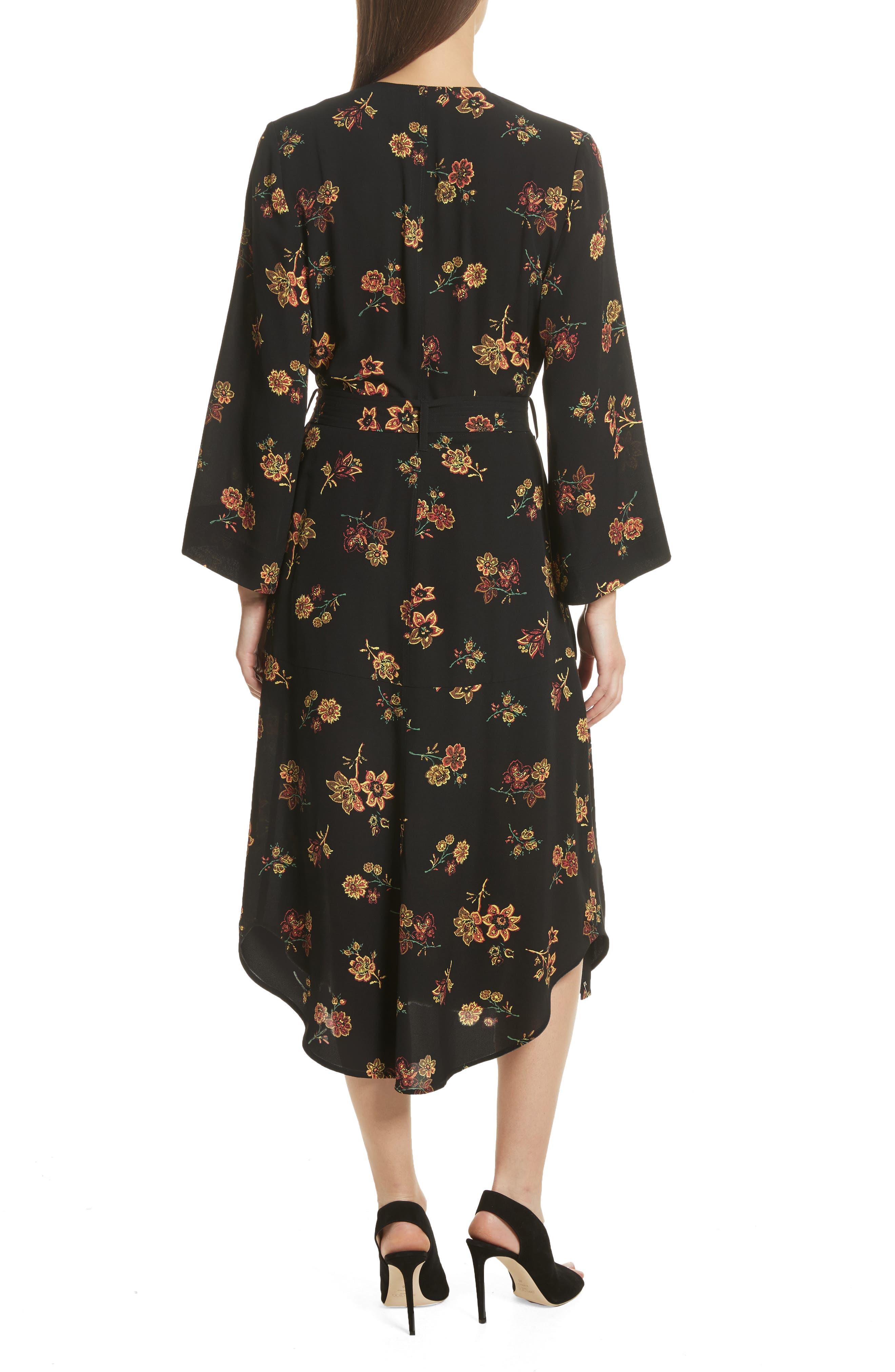 Wilma Silk Wrap Dress,                             Alternate thumbnail 2, color,                             Black