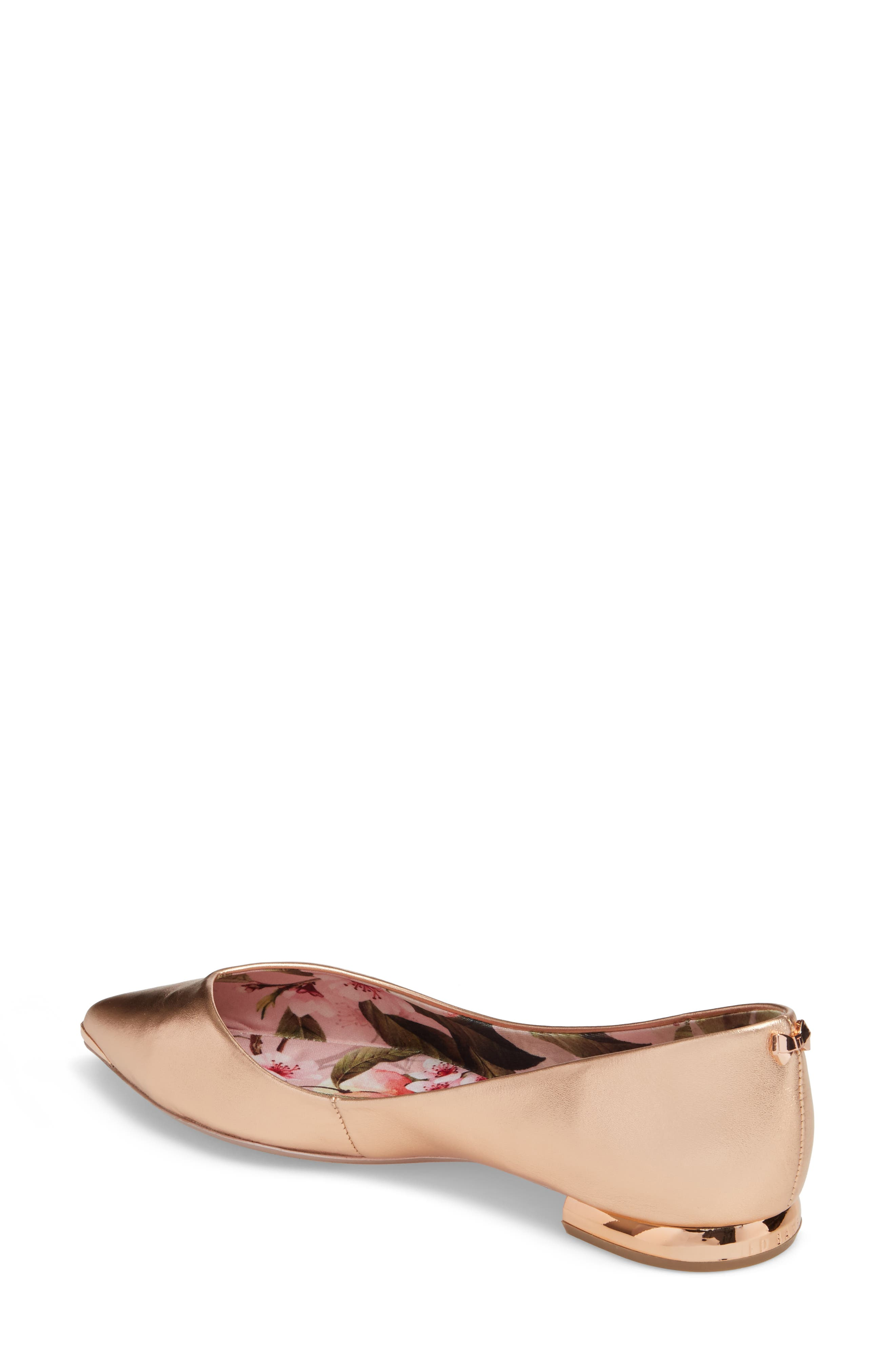 Grasce Flat,                             Alternate thumbnail 2, color,                             Rose Gold Leather