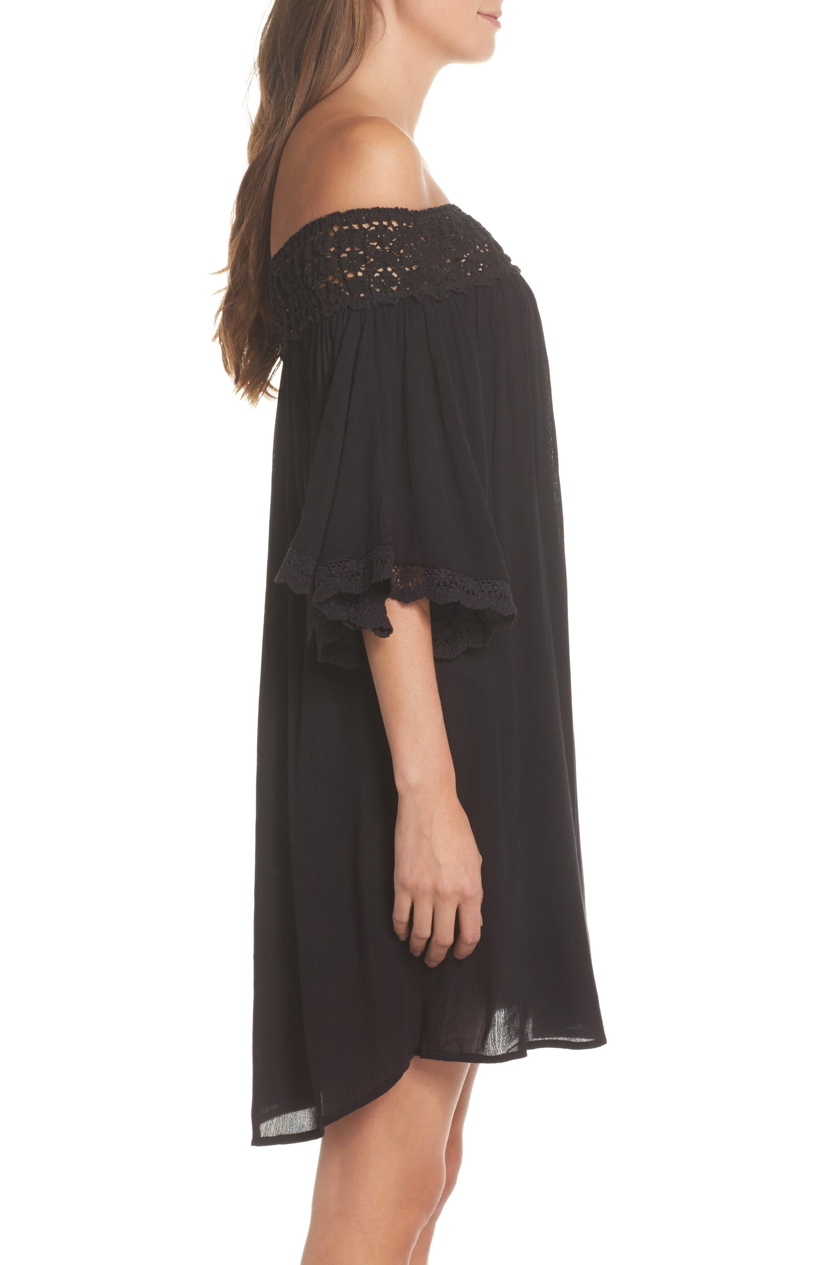 Rimini Crochet Cover-Up Dress,                             Alternate thumbnail 3, color,                             Black