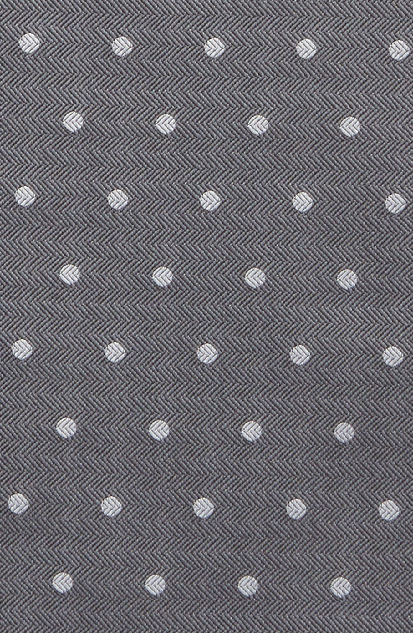 Dotted Hitch Silk & Wool Pocket Square,                             Alternate thumbnail 3, color,                             Grey