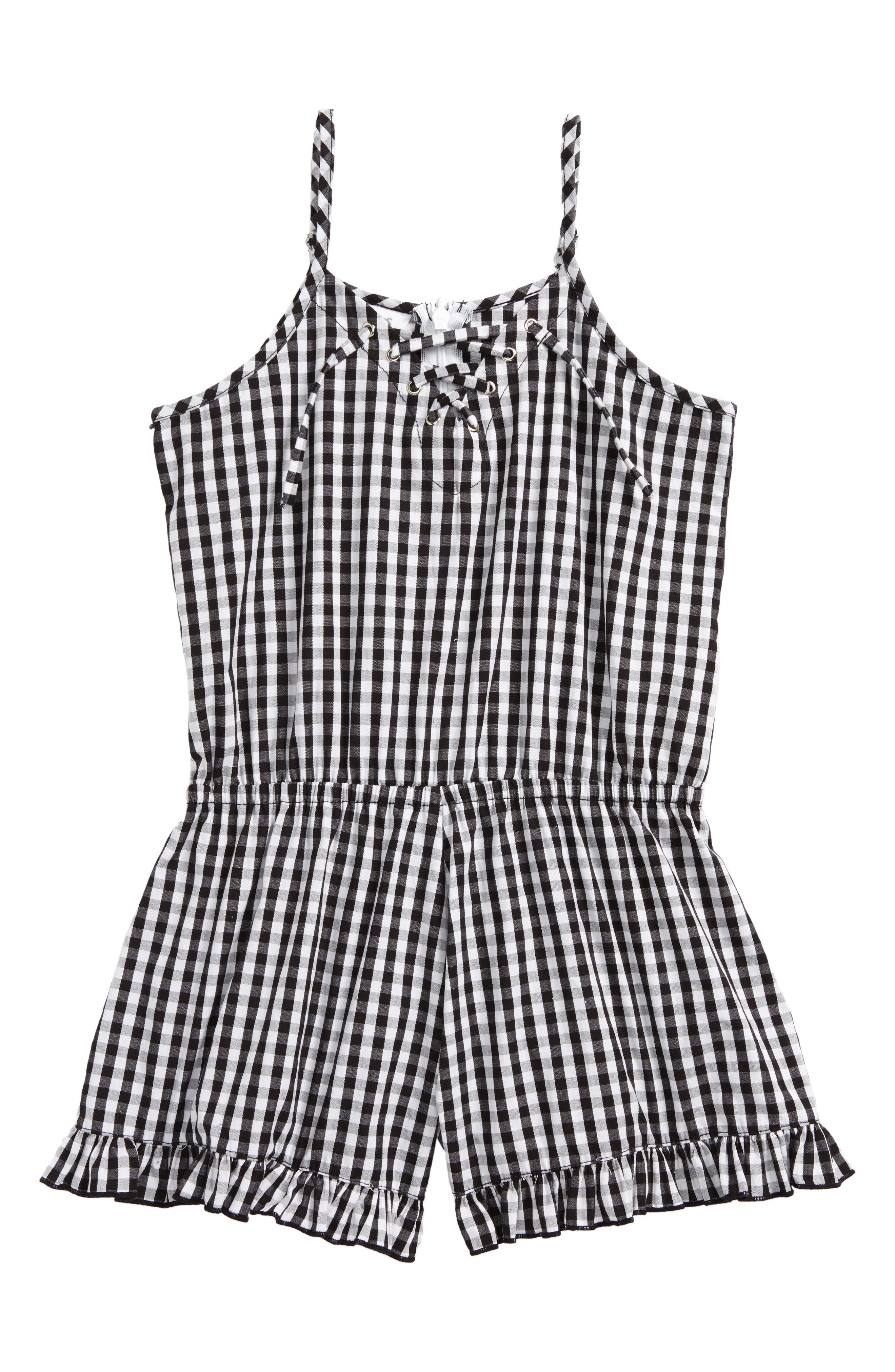 Gingham Romper,                             Main thumbnail 1, color,                             Black-Whbcgm-Ginggham-Whbcgm