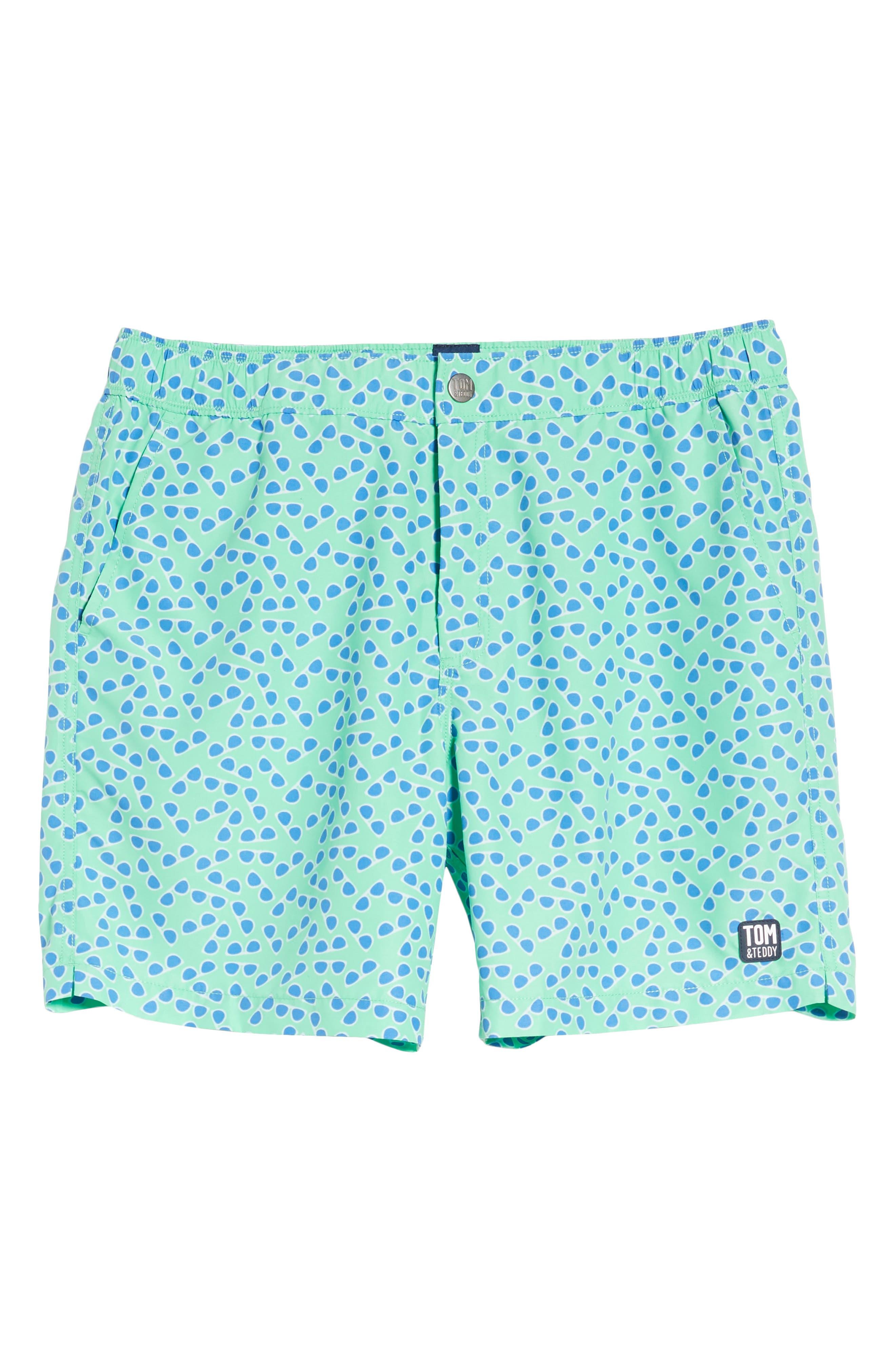 Sunglasses Print Swim Trunks,                             Alternate thumbnail 6, color,                             Spring Green