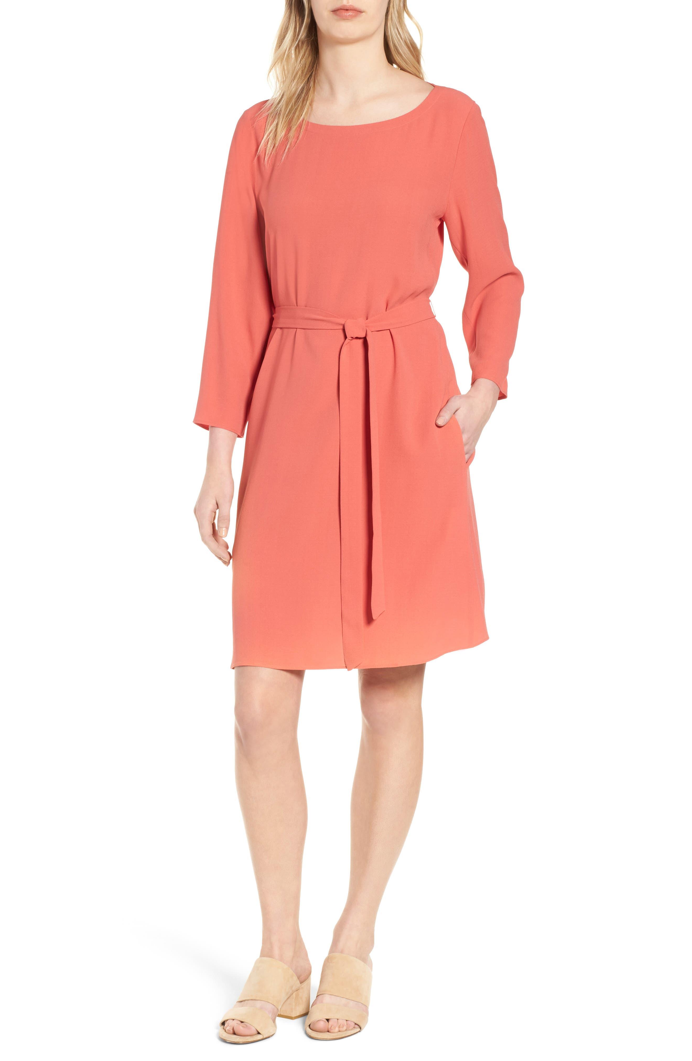 Bateau Neck Silk Dress,                         Main,                         color, Mimosa