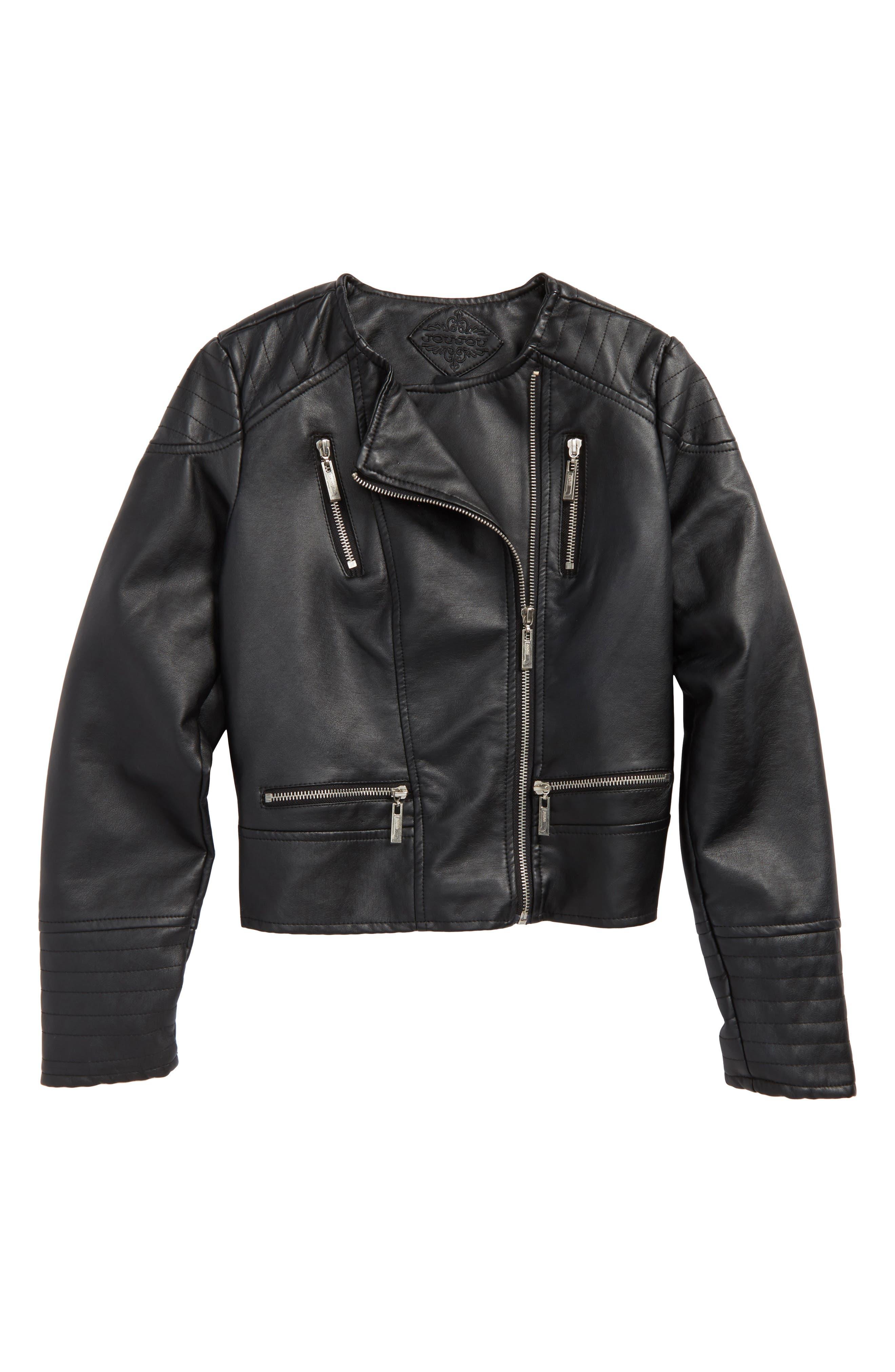 Alternate Image 1 Selected - Jou Jou Faux Leather Moto Jacket (Big Girls)