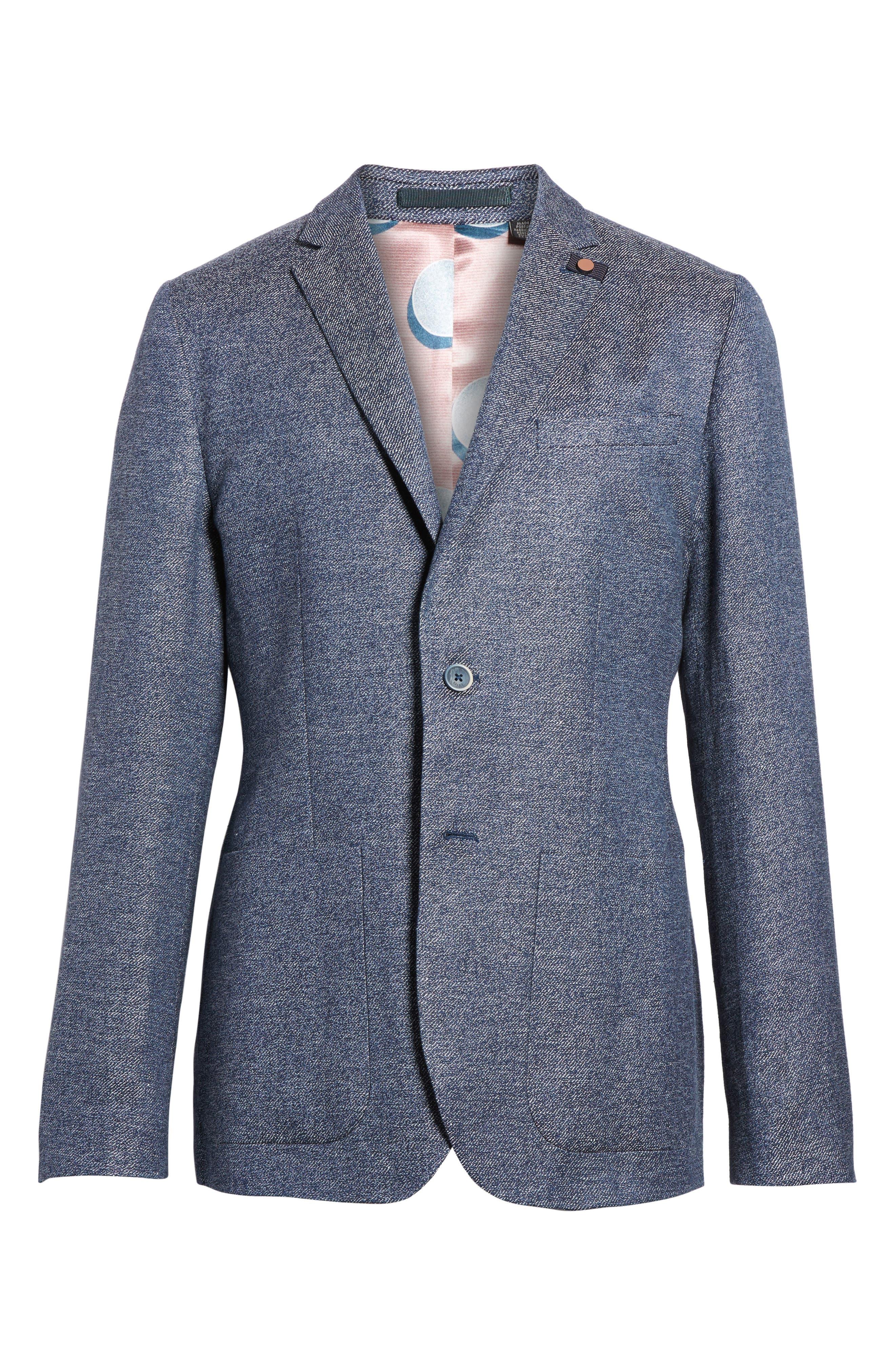 Cheea Trim Fit Mouline Sport Coat,                             Alternate thumbnail 6, color,                             Blue