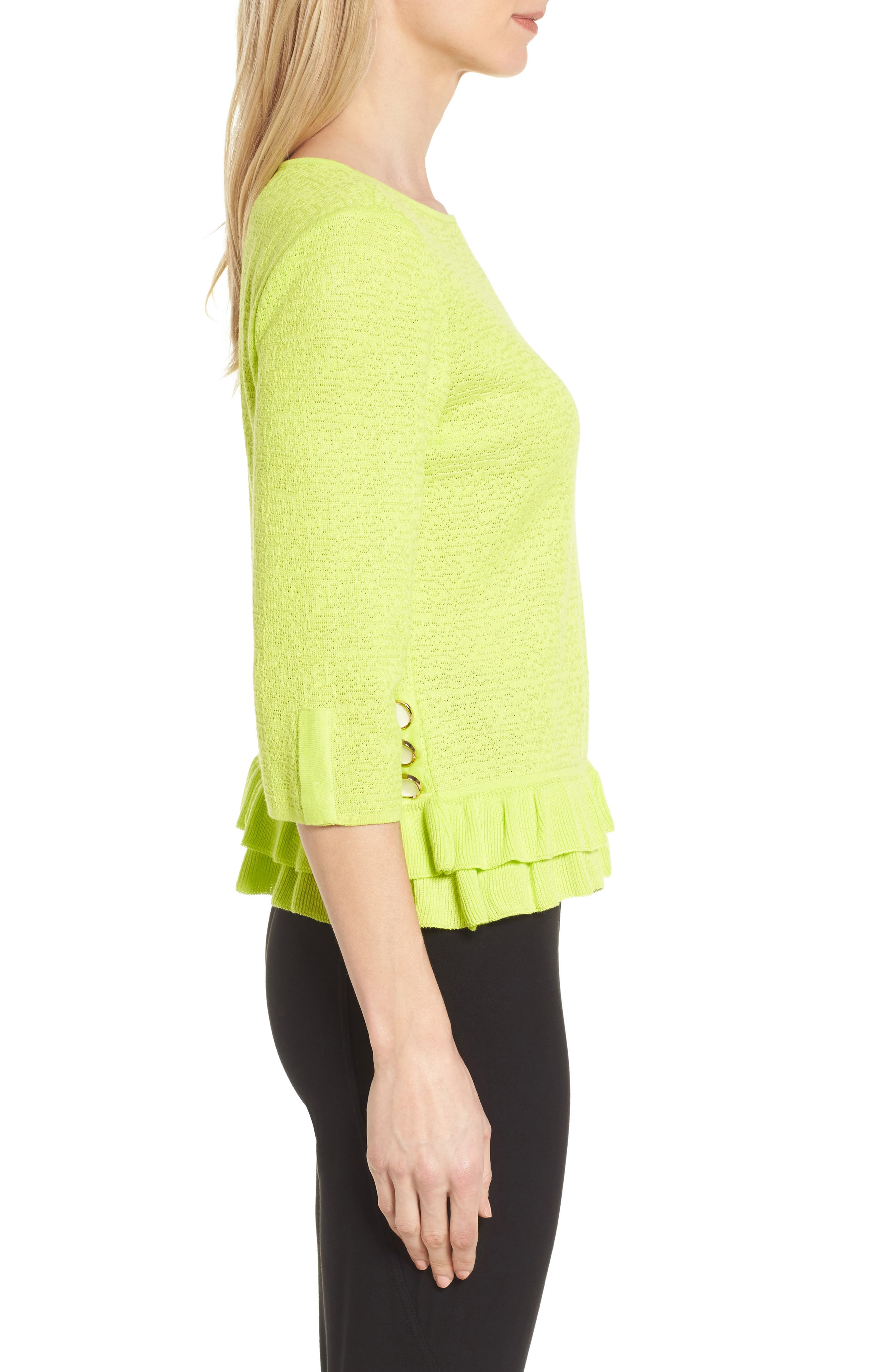 Button Detail Ruffle Sweater,                             Alternate thumbnail 3, color,                             Pear