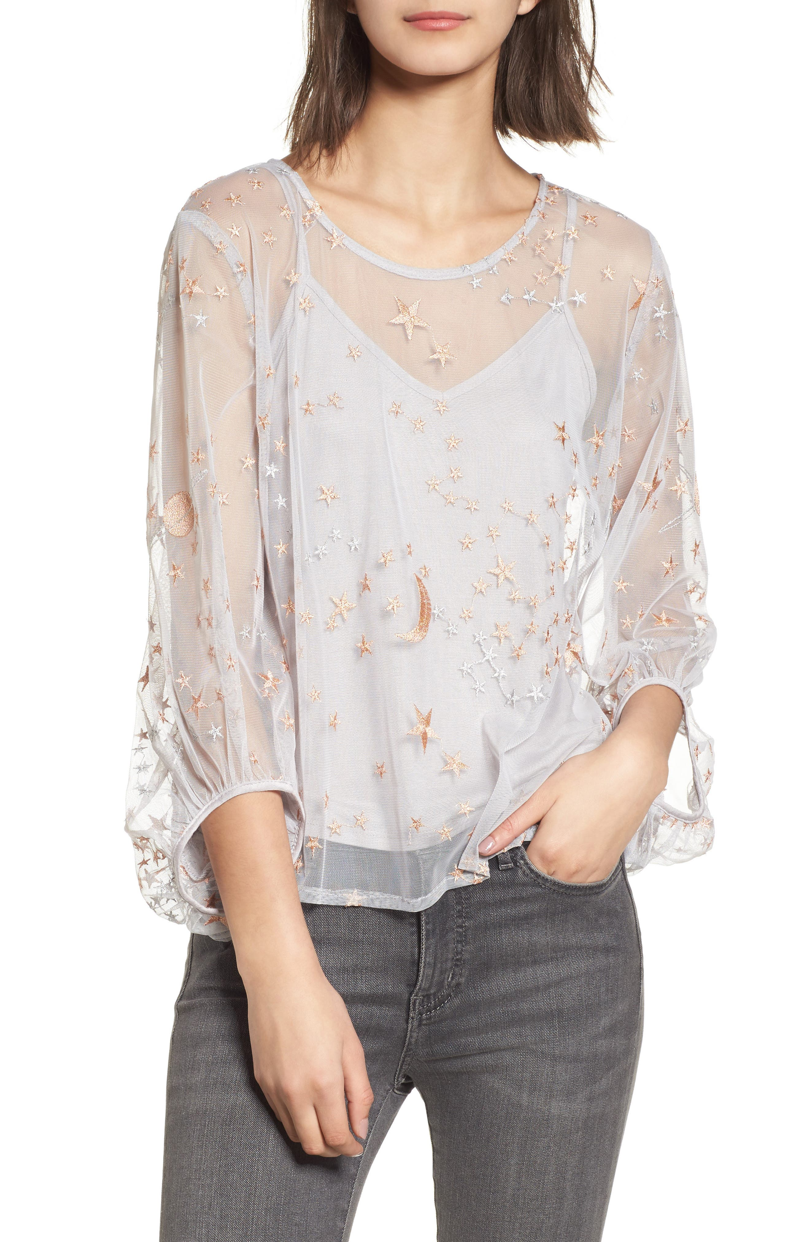 Embroidered Top,                         Main,                         color, Silver