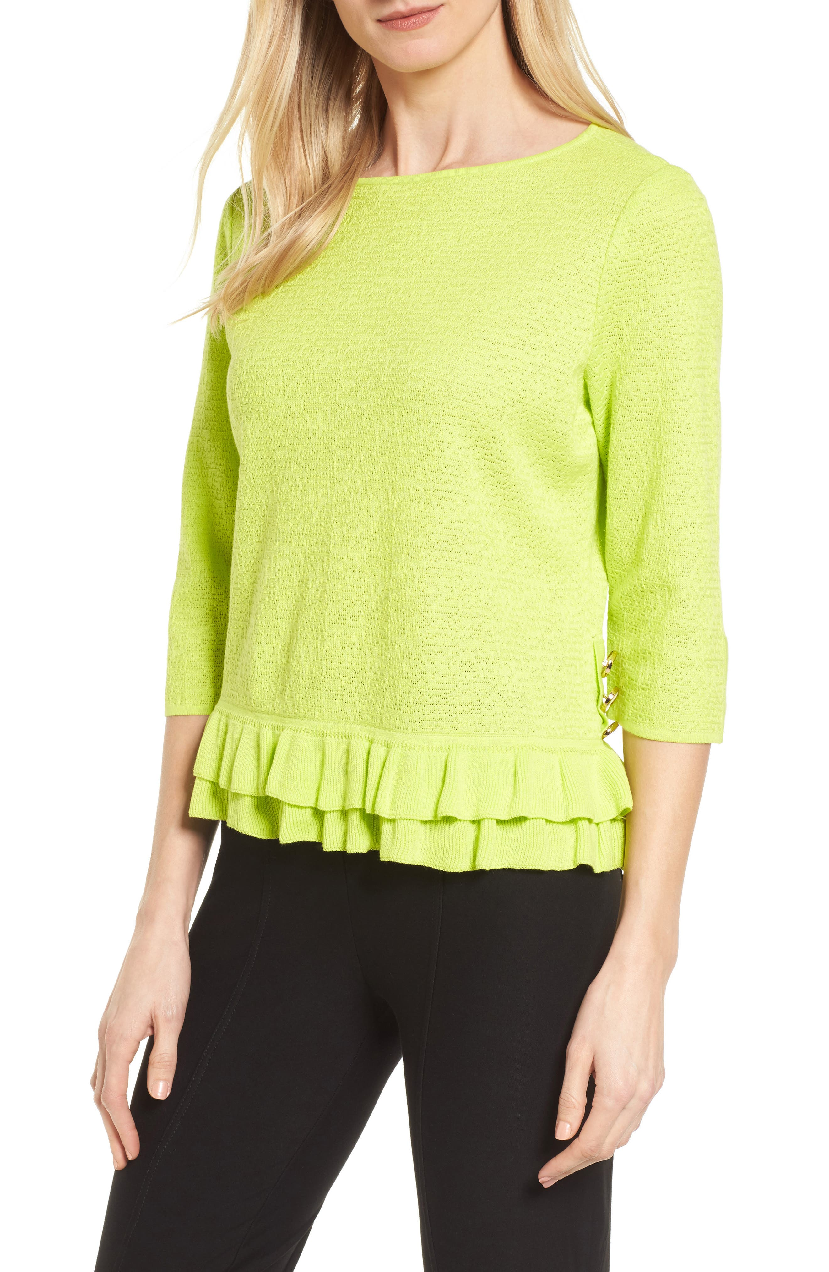 Button Detail Ruffle Sweater,                         Main,                         color, Pear