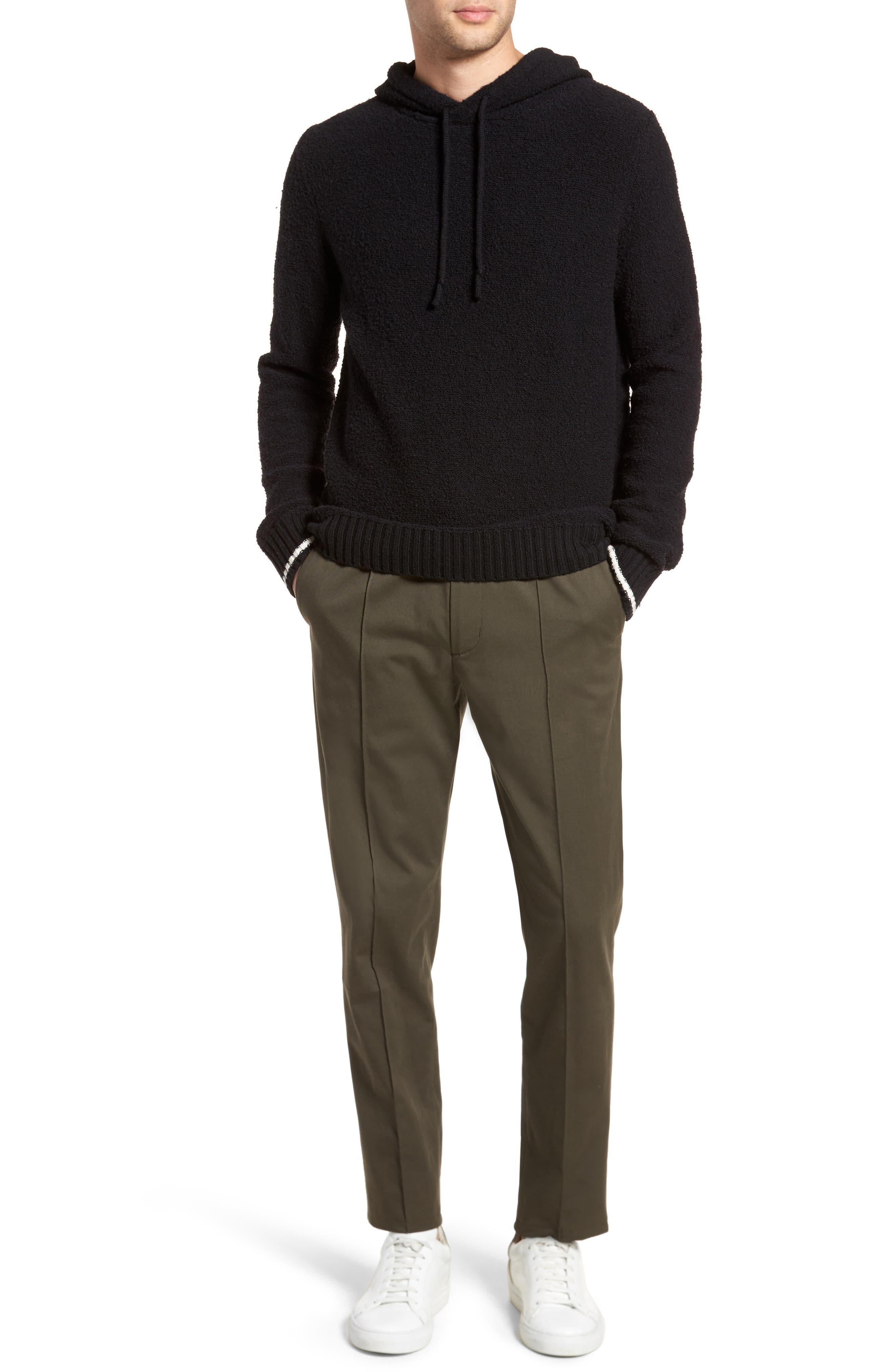 Wool Fleece Pullover Hoodie,                             Alternate thumbnail 7, color,                             Black