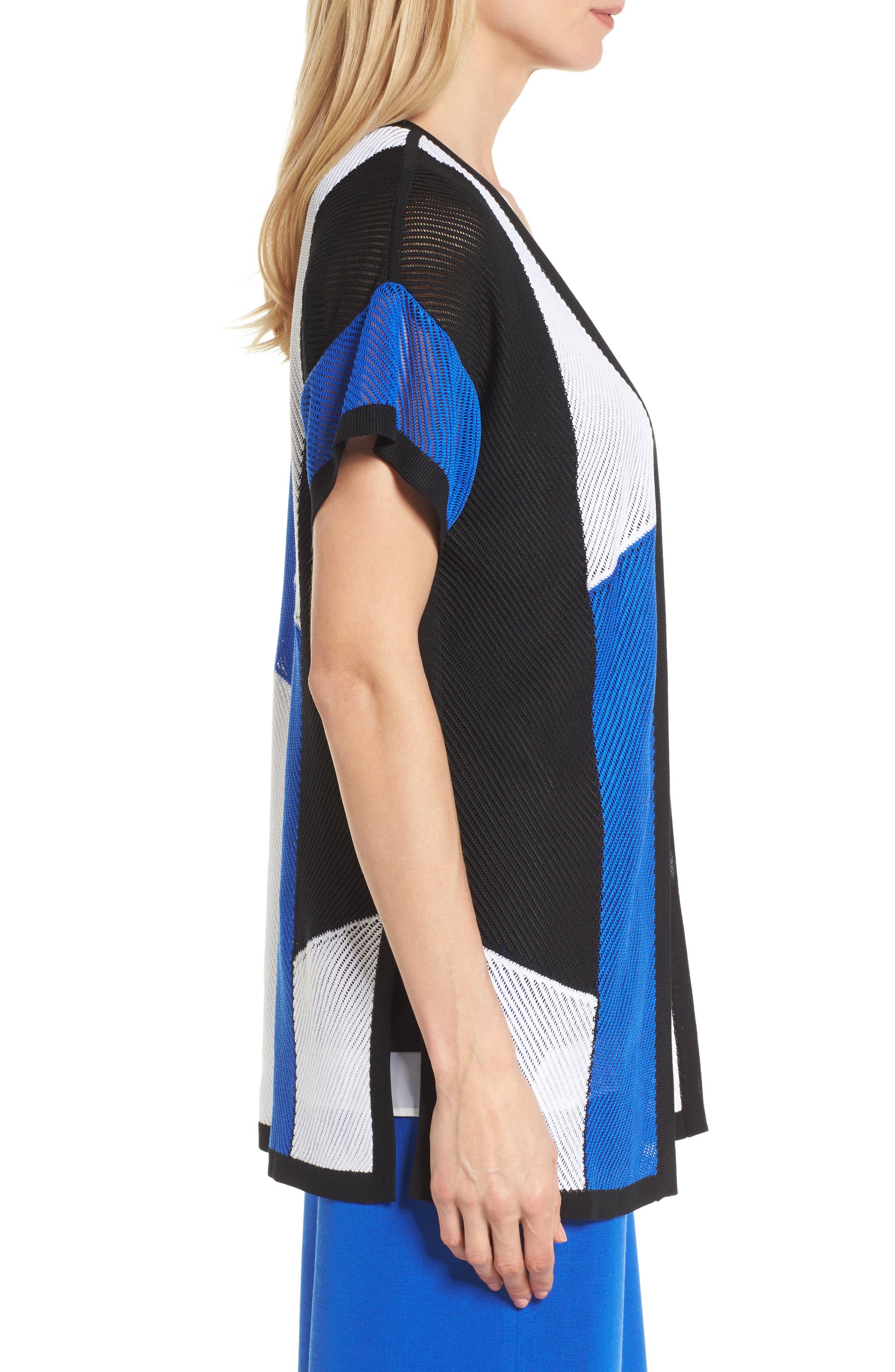 Colorblock Short Sleeve Cardigan,                             Alternate thumbnail 3, color,                             White/ Black/ Patriot Blue