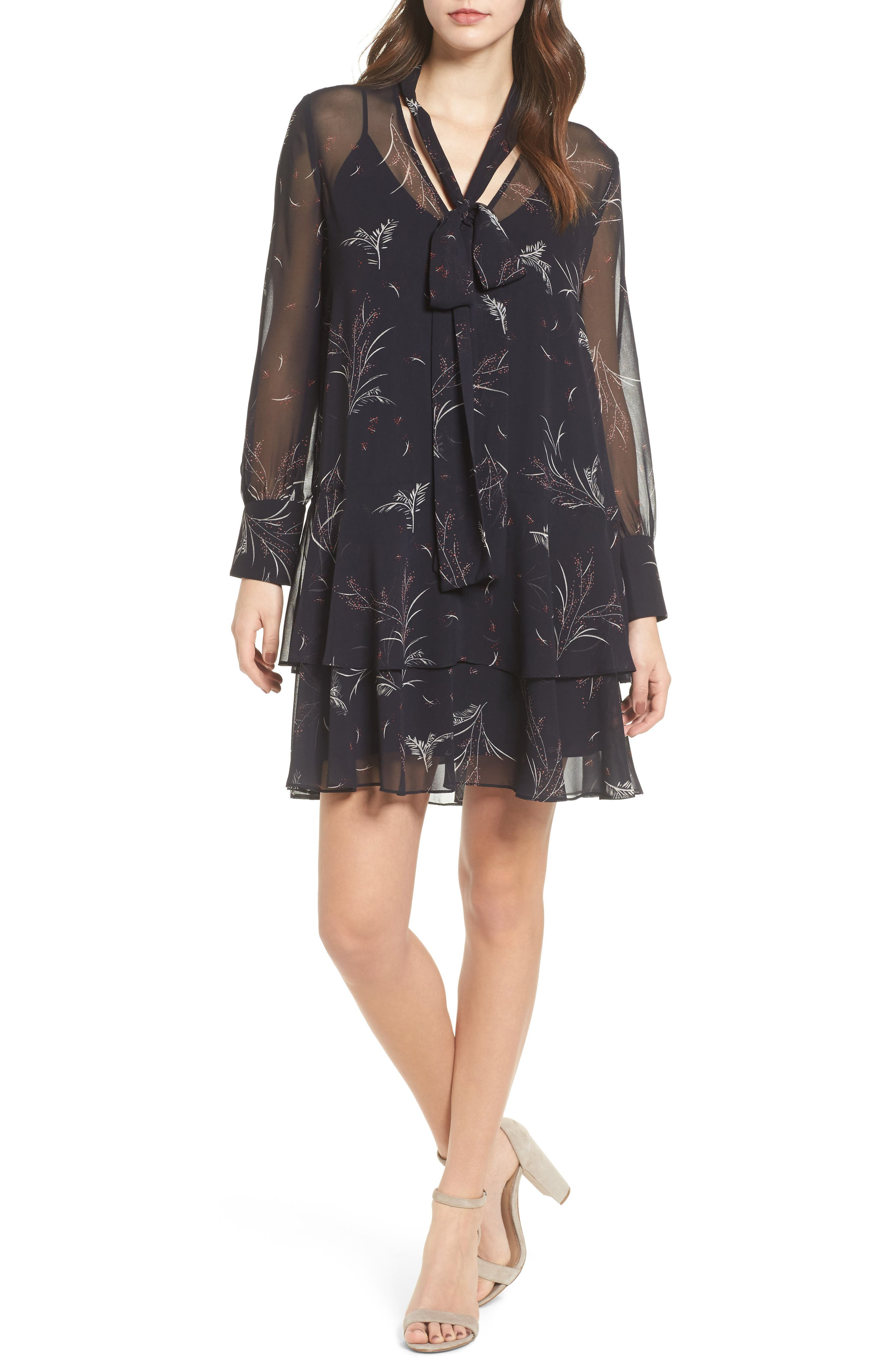 Tie Front Shirtdress,                         Main,                         color, Navy Well Leaves And Buds