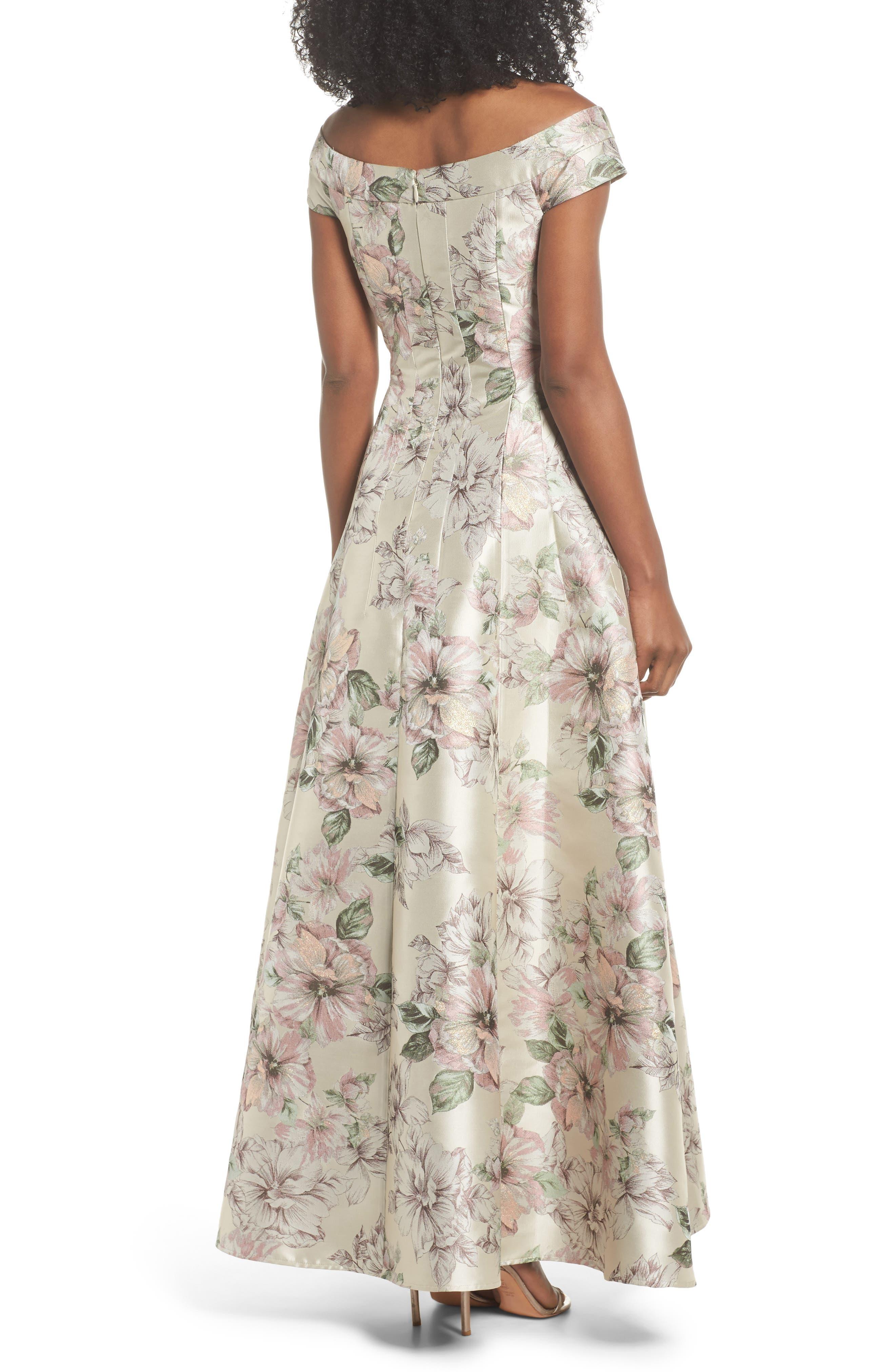 Floral Jacquard Off the Shoulder Ballgown,                             Alternate thumbnail 2, color,                             Blush