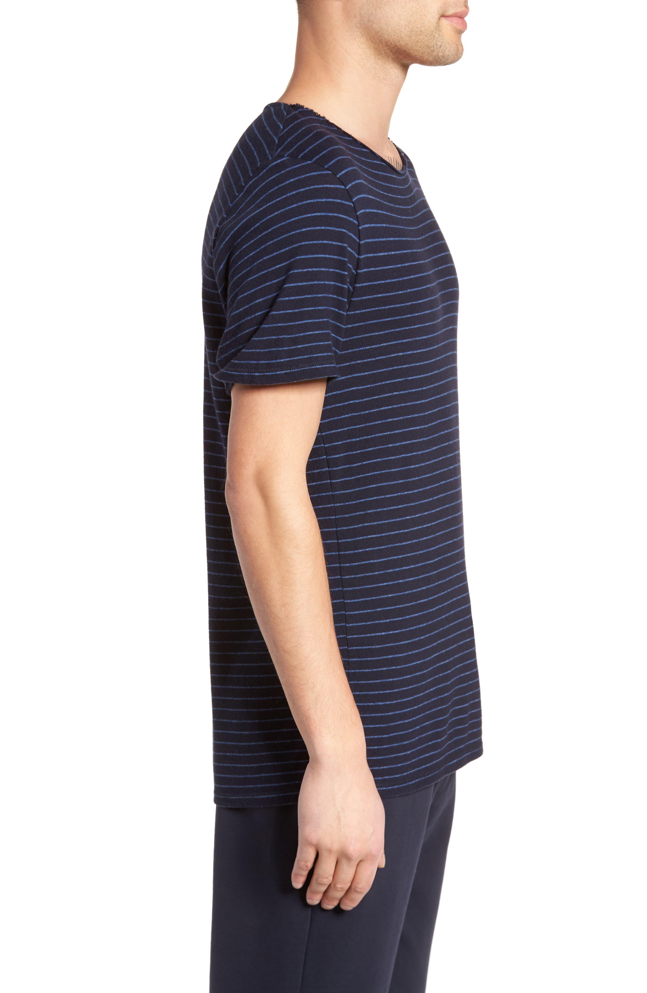 Raw Edge Stripe T-Shirt,                             Alternate thumbnail 3, color,                             New Coastal/ H Lake