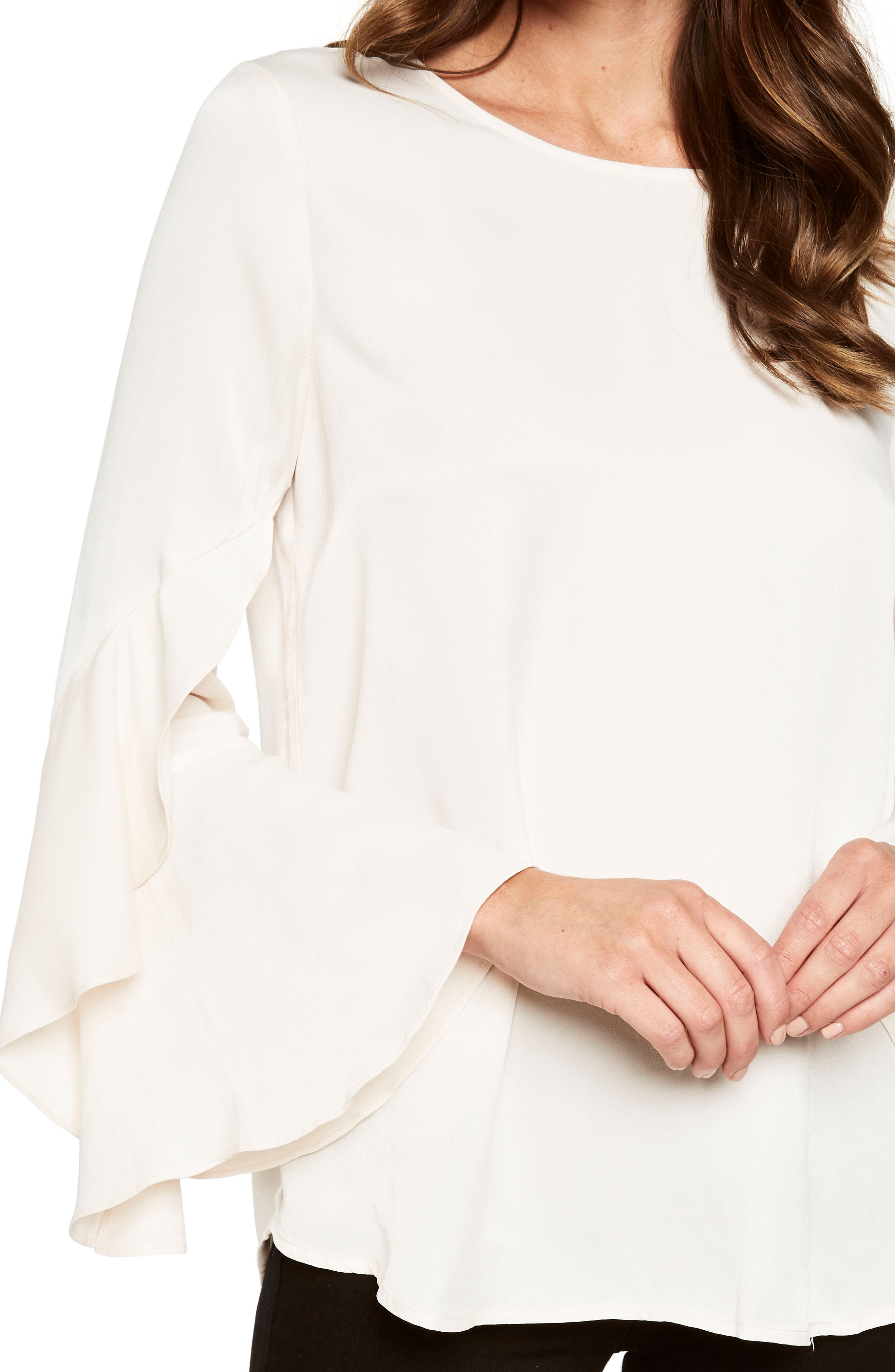 Bell Sleeve Top,                             Alternate thumbnail 4, color,                             Champagne