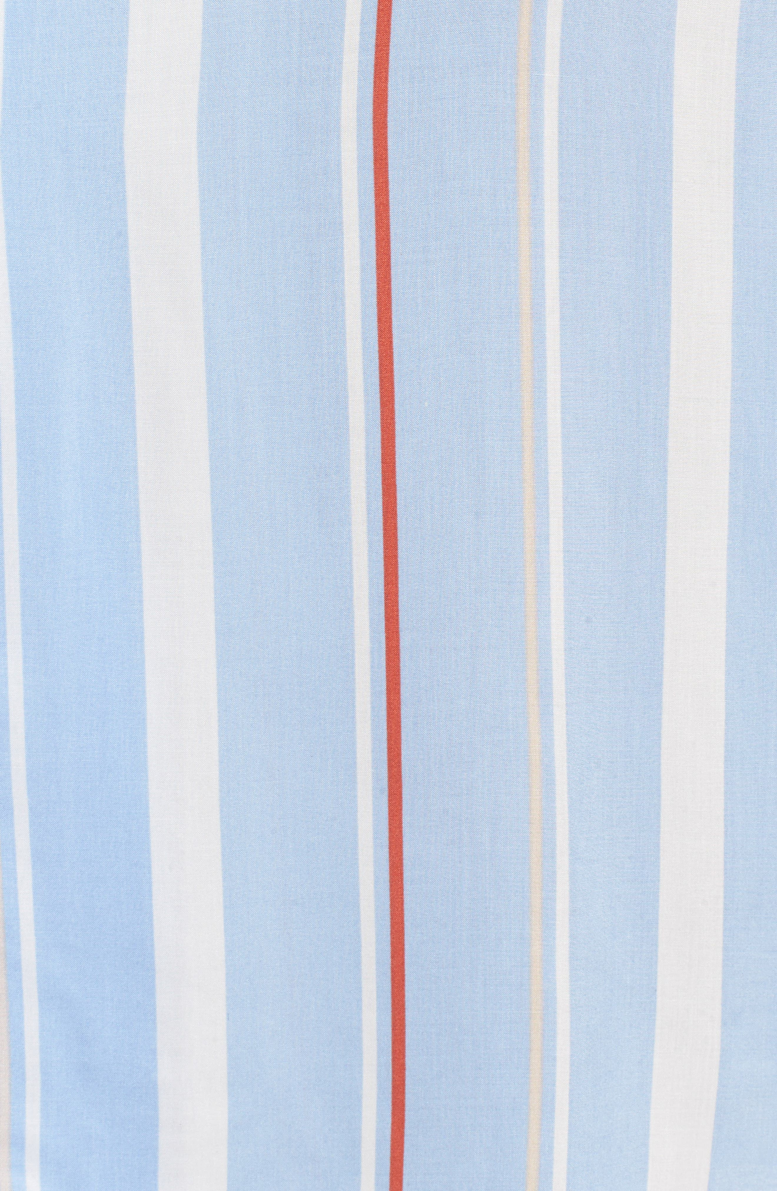Button Down Midi Shirtdress,                             Alternate thumbnail 5, color,                             Light Blue-Rust