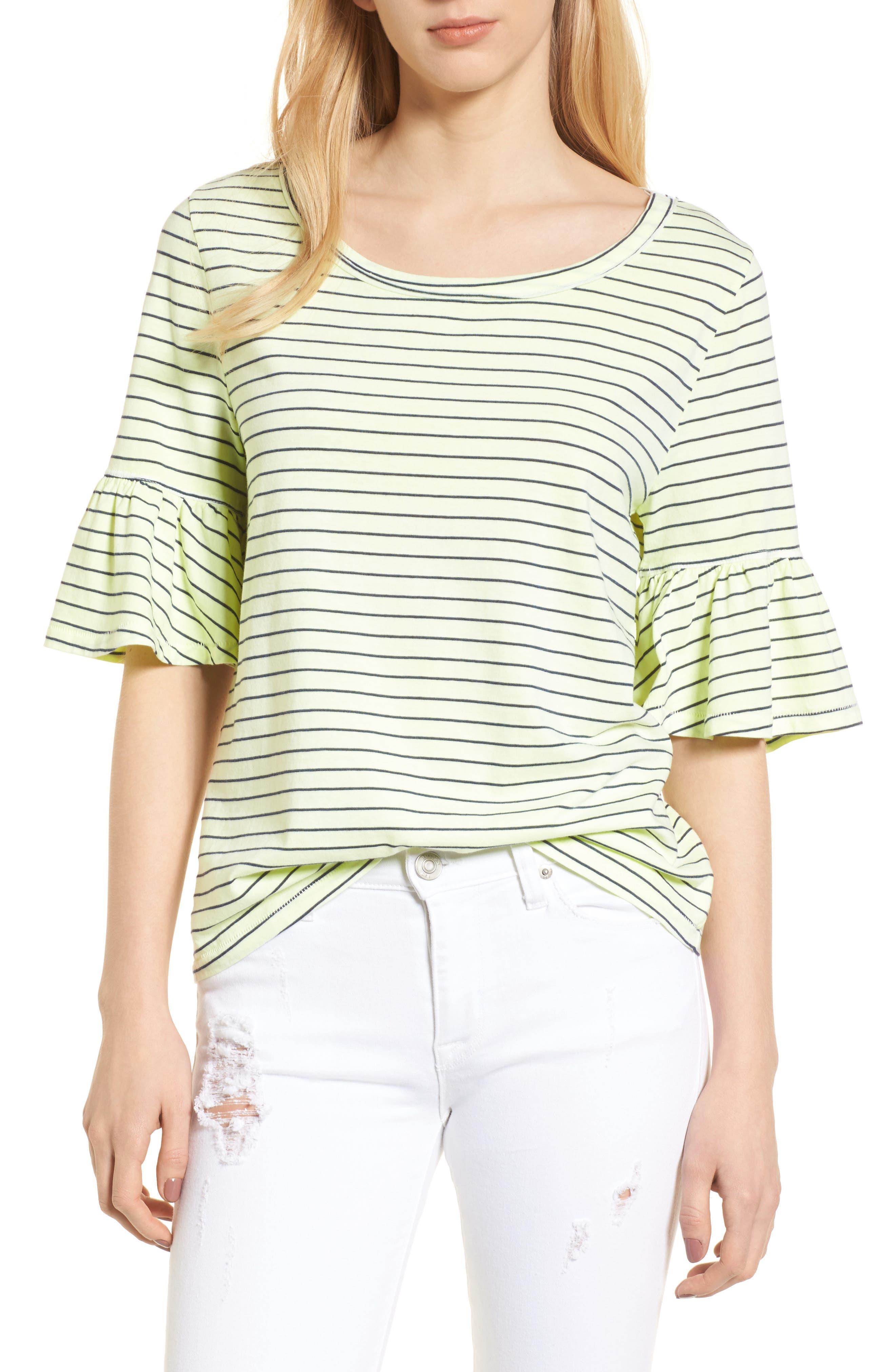 Stripe Ruffle Sleeve Tee,                         Main,                         color, Yellow Glow