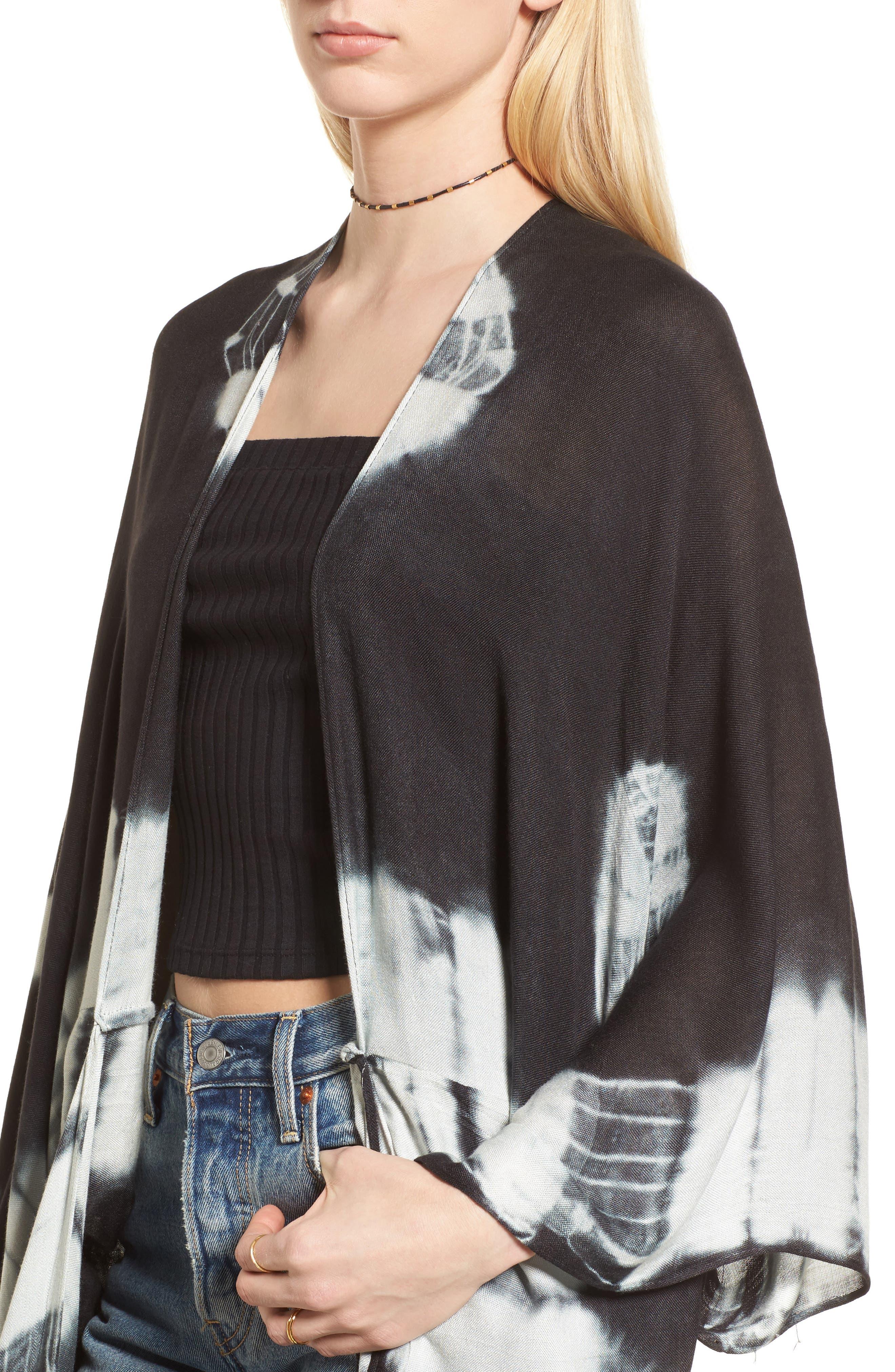 Spellbound Tie Dye Kimono Duster,                             Alternate thumbnail 4, color,                             Black