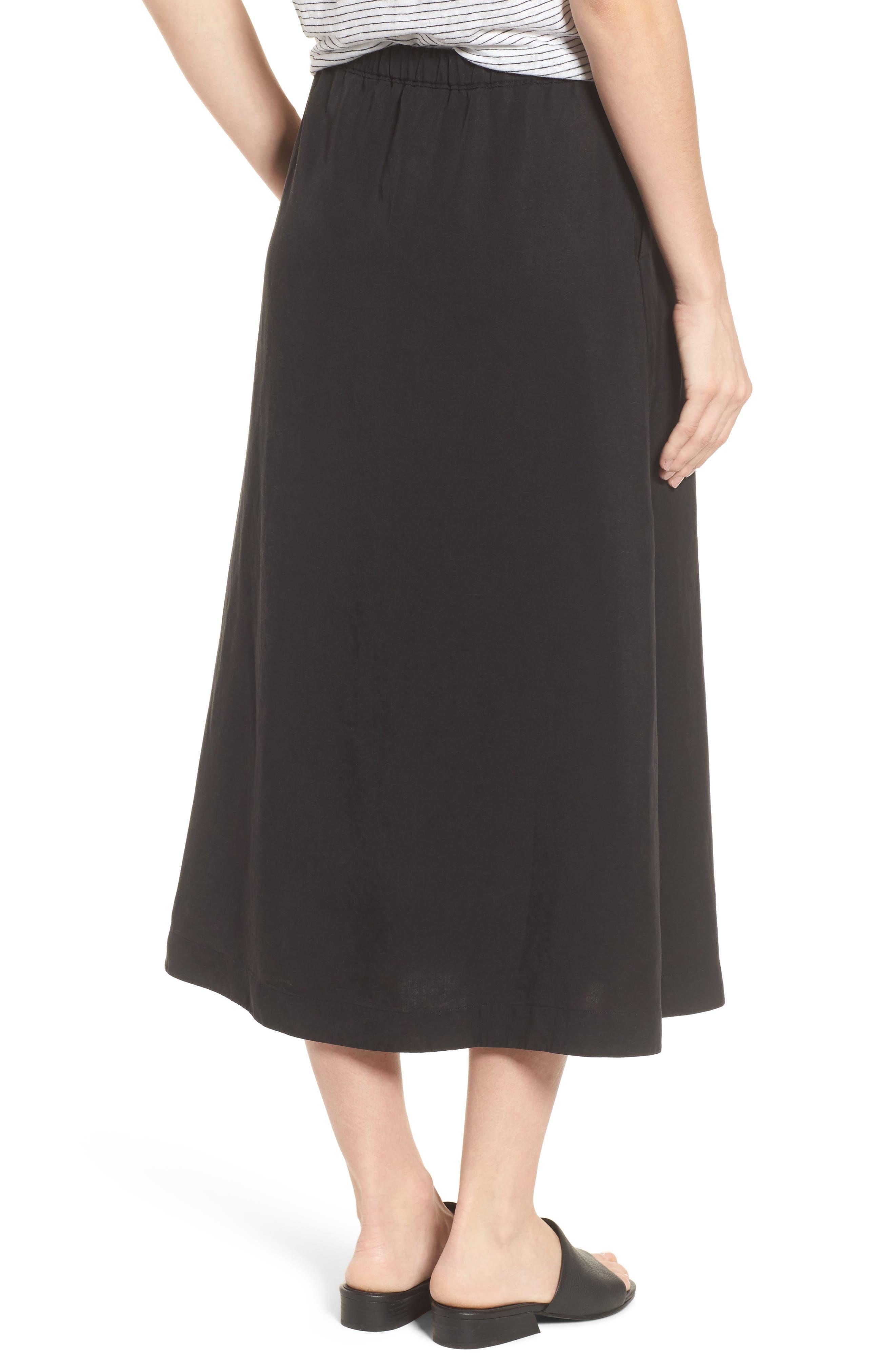 Tencel<sup>®</sup> Lyocell & Linen Midi Skirt,                             Alternate thumbnail 2, color,                             Black