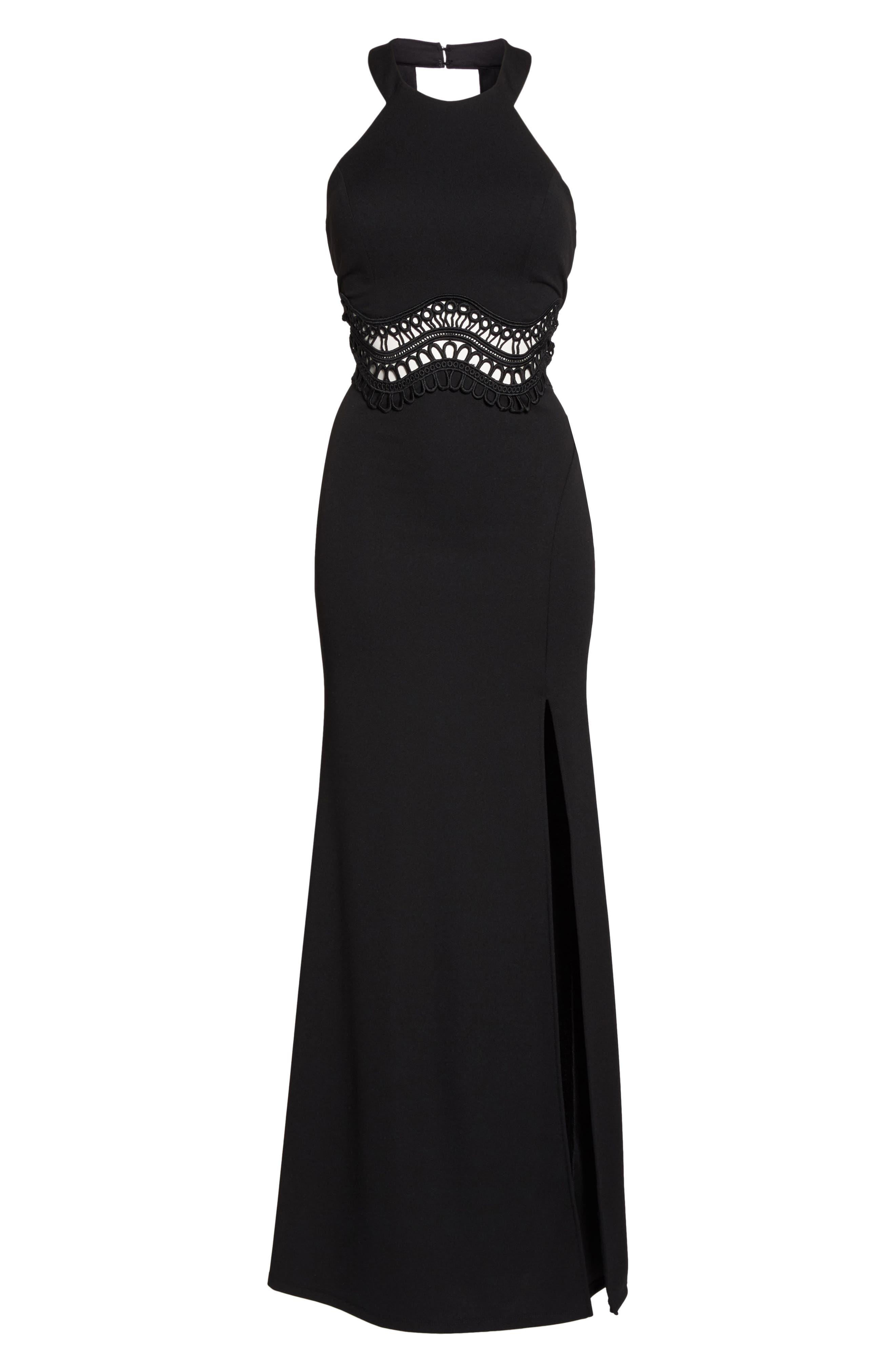Soutache Waist Scuba Gown,                             Alternate thumbnail 6, color,                             Black