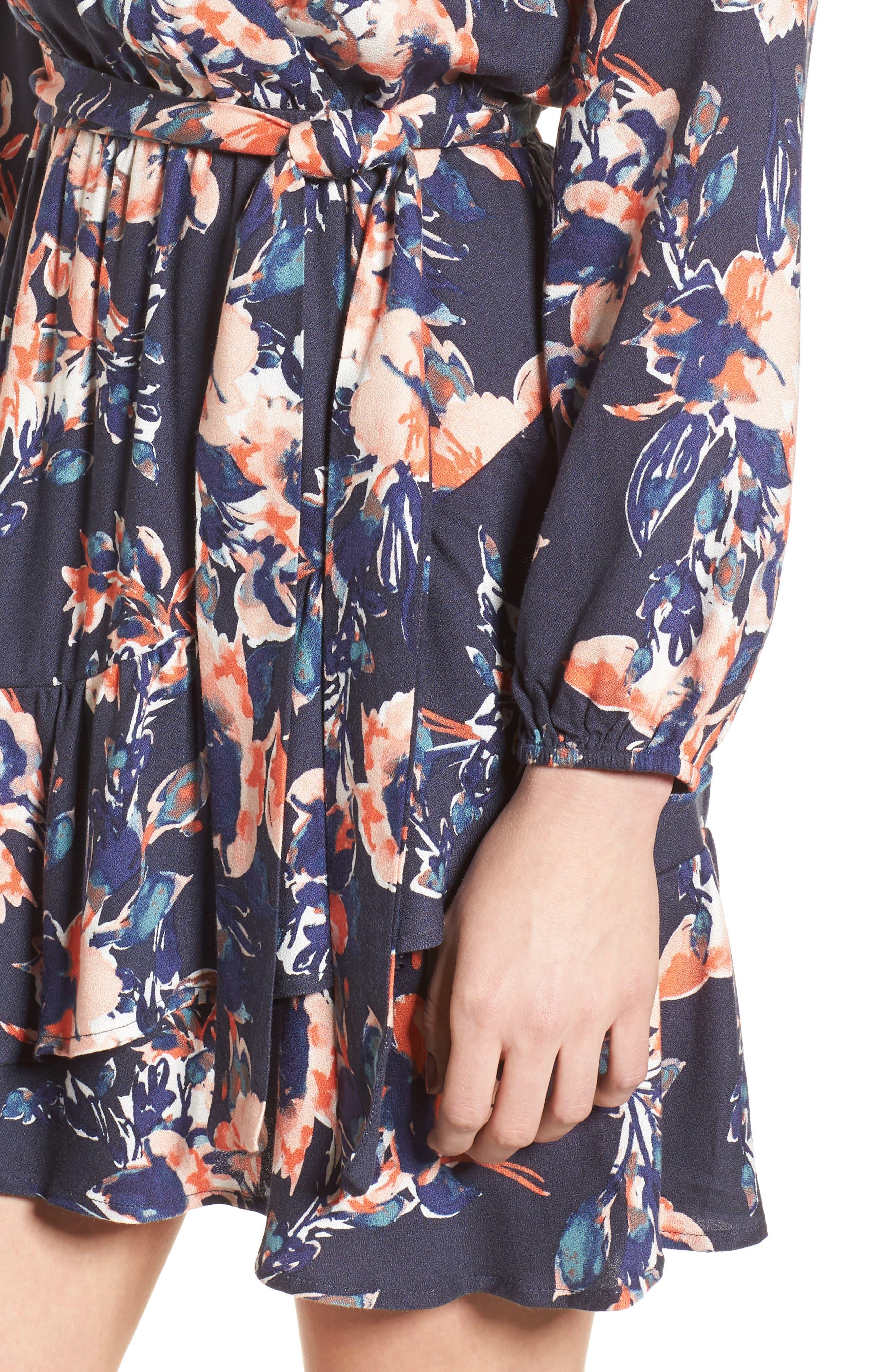 Painted Floral Wrap Dress,                             Alternate thumbnail 4, color,                             Navy