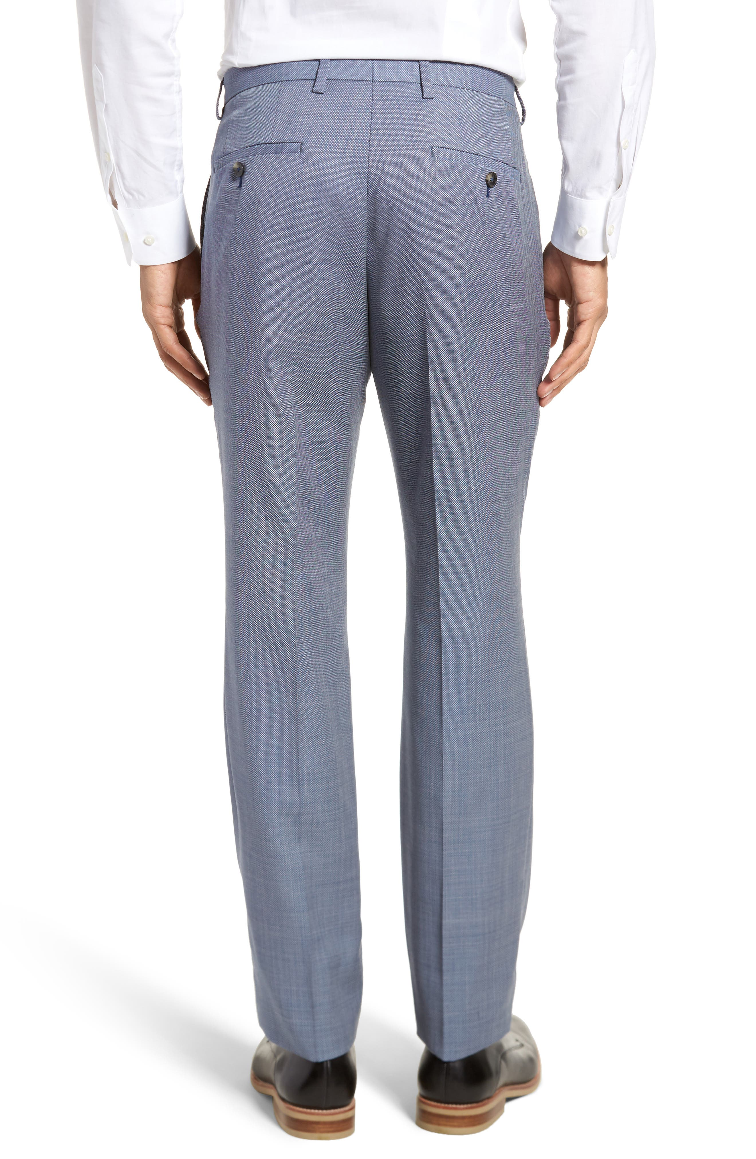 Leenon Flat Front Regular Fit Solid Wool Trousers,                             Alternate thumbnail 3, color,                             Light/ Pastel Blue