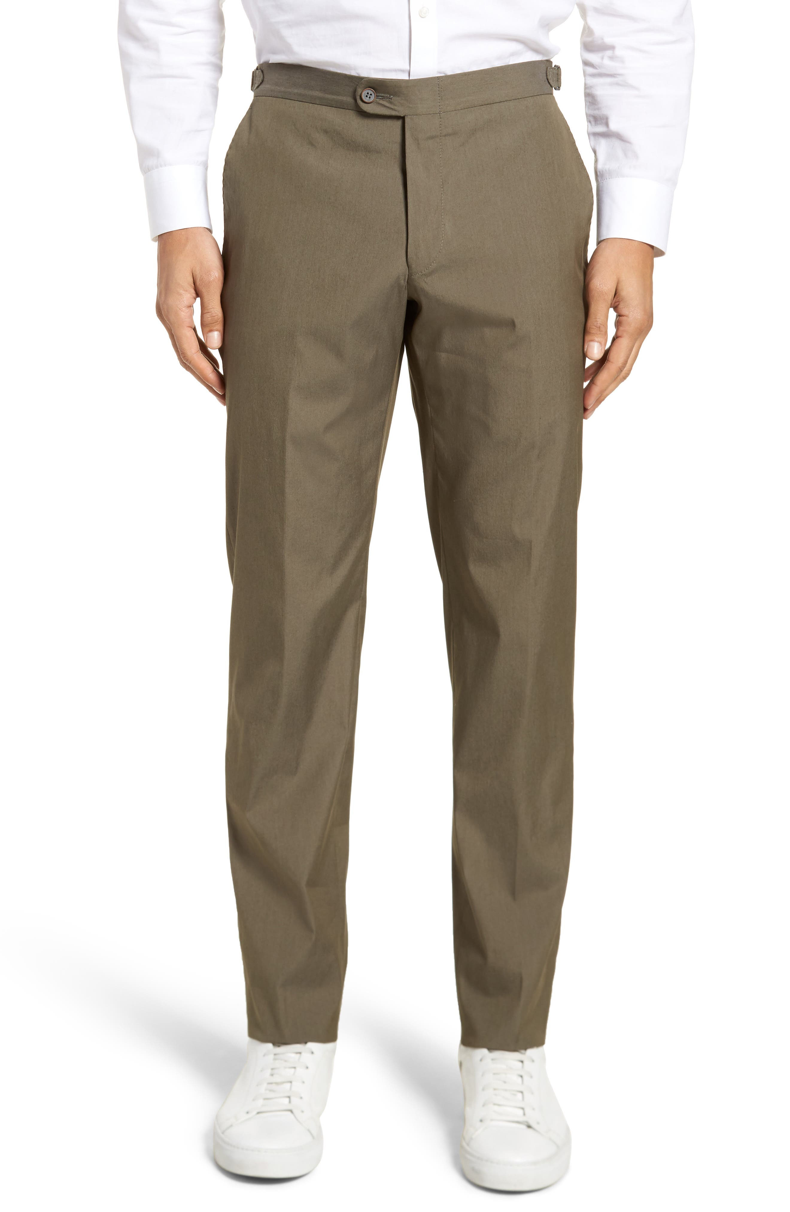 H Classic B Fit Flat Front Stretch Solid Wool Blend Trousers