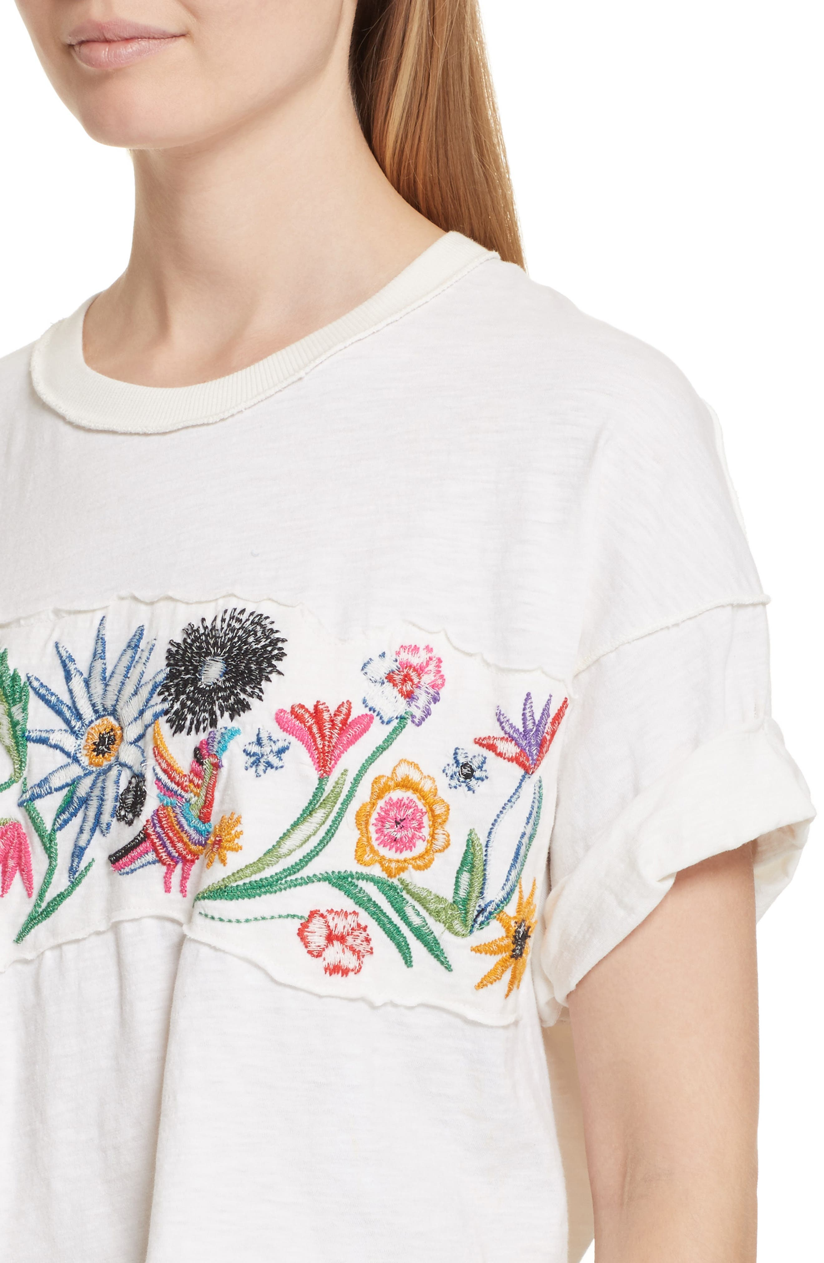 Alternate Image 4  - Free People Garden Time Embroidered Tee