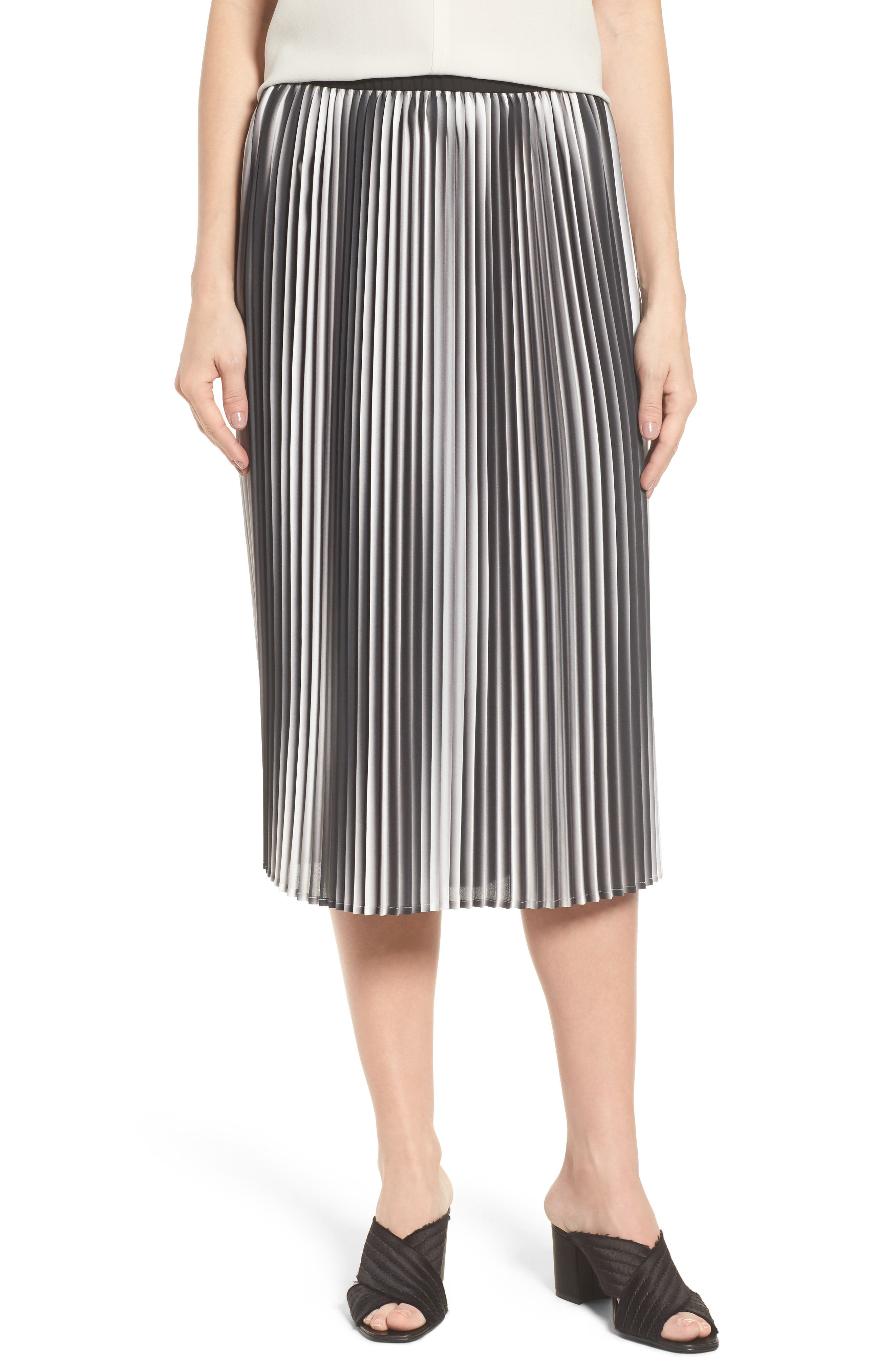 Eileen Fisher Printed Pleated Skirt (Regular & Petite)